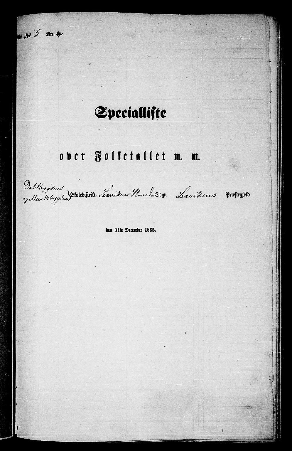 RA, Folketelling 1865 for 1718P Leksvik prestegjeld, 1865, s. 101