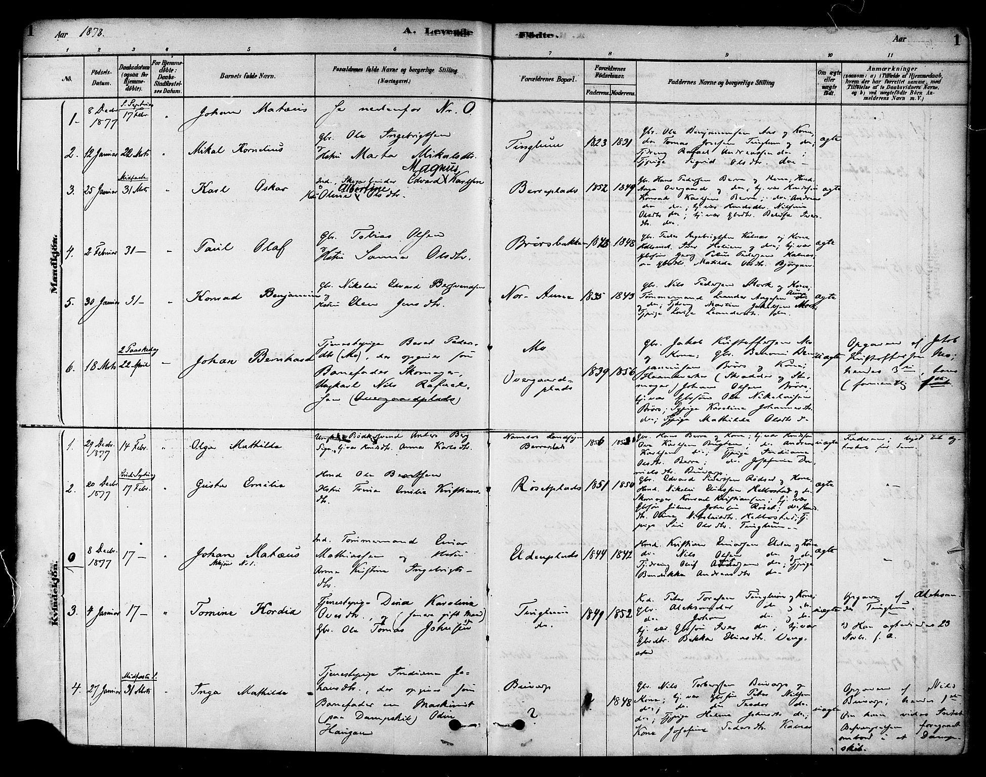 SAT, Ministerialprotokoller, klokkerbøker og fødselsregistre - Nord-Trøndelag, 742/L0408: Ministerialbok nr. 742A01, 1878-1890, s. 1