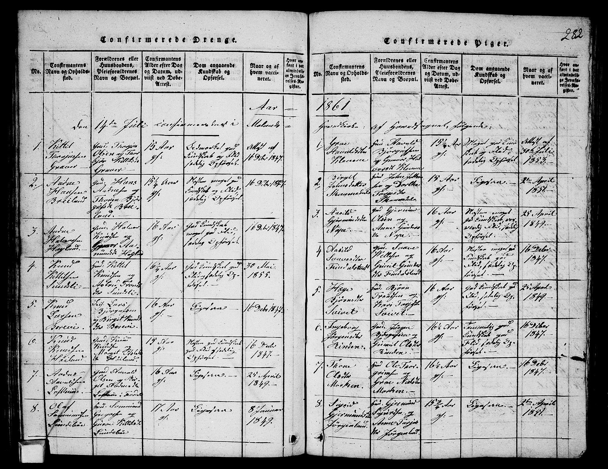 SAKO, Fyresdal kirkebøker, G/Ga/L0003: Klokkerbok nr. I 3, 1815-1863, s. 282