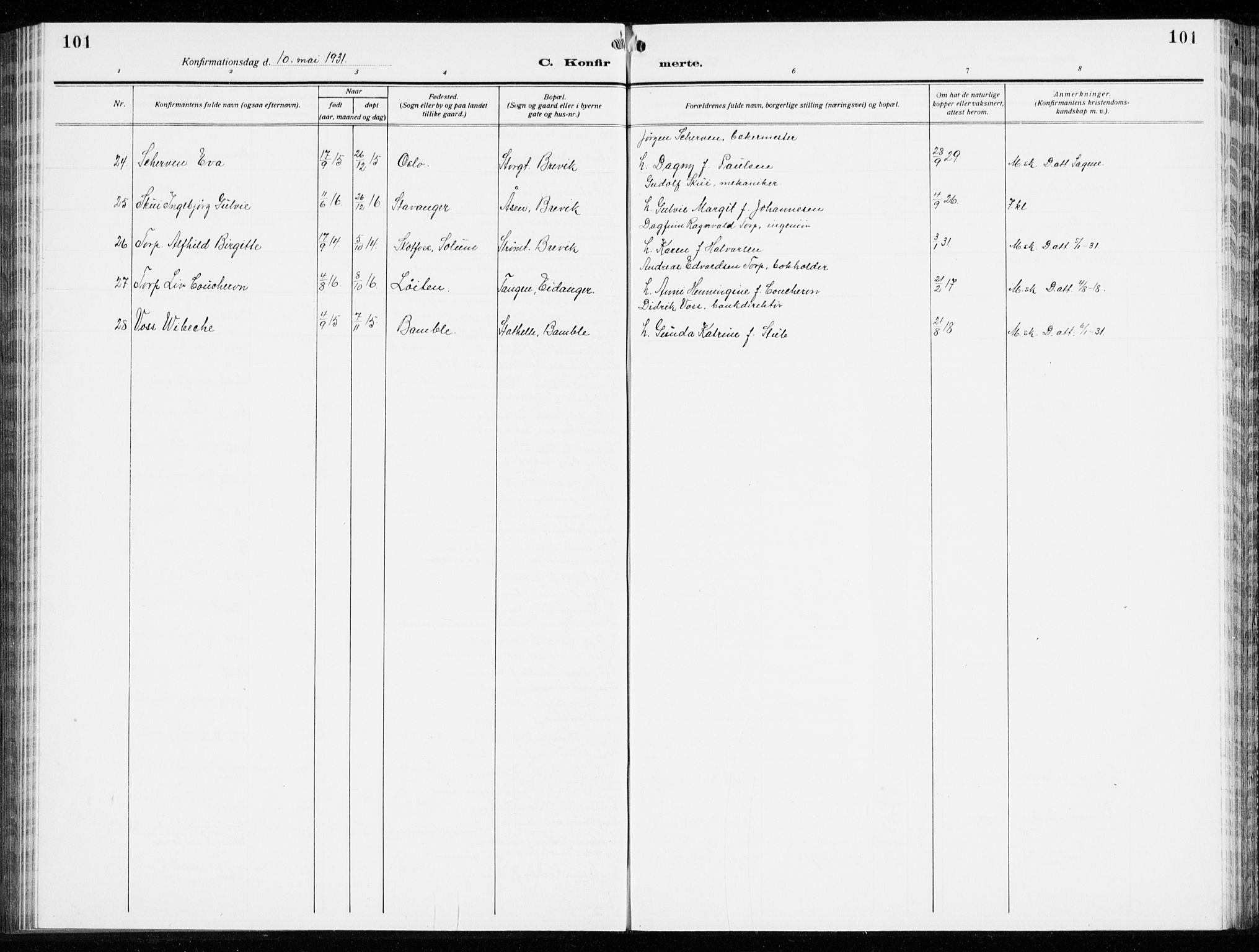 SAKO, Brevik kirkebøker, G/Ga/L0006: Klokkerbok nr. 6, 1922-1940, s. 101