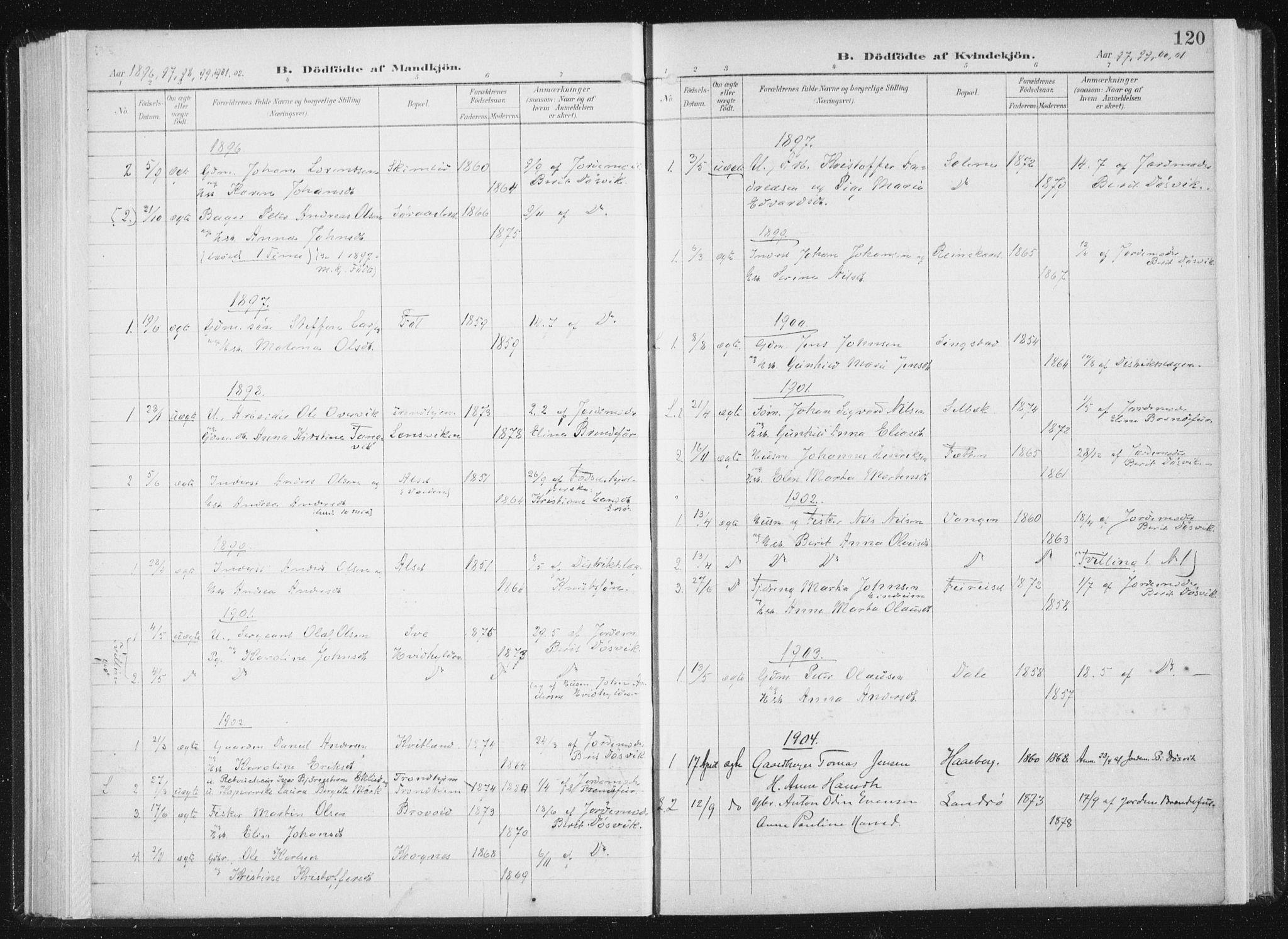 SAT, Ministerialprotokoller, klokkerbøker og fødselsregistre - Sør-Trøndelag, 647/L0635: Ministerialbok nr. 647A02, 1896-1911, s. 120