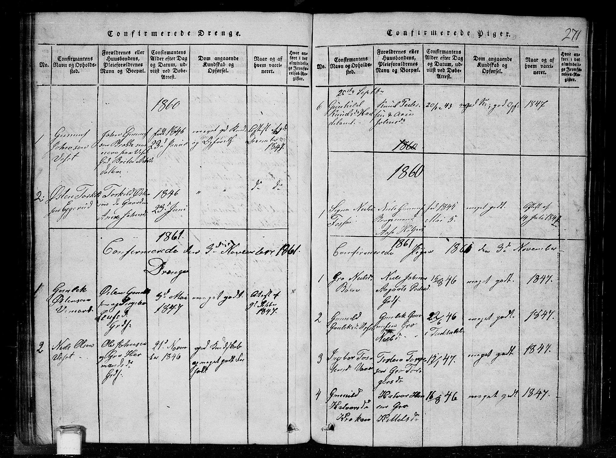 SAKO, Tinn kirkebøker, G/Gc/L0001: Klokkerbok nr. III 1, 1815-1879, s. 271