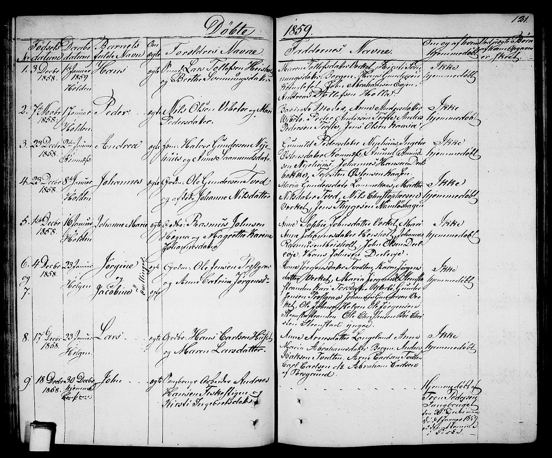 SAKO, Holla kirkebøker, G/Ga/L0003: Klokkerbok nr. I 3, 1849-1866, s. 121