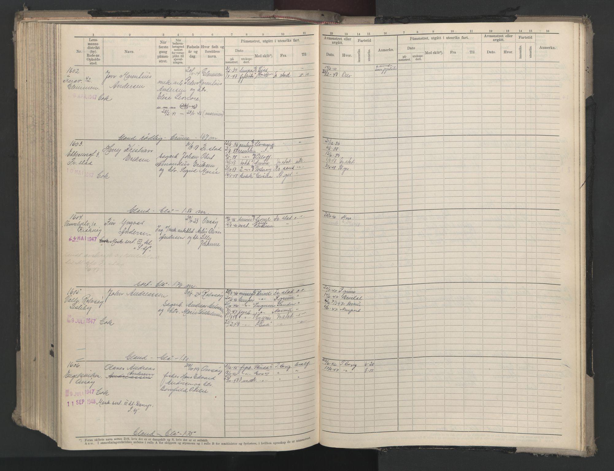 SAO, Oslo sjømannskontor, F/Fd/L0008: B-rulle, 1914, s. upaginert
