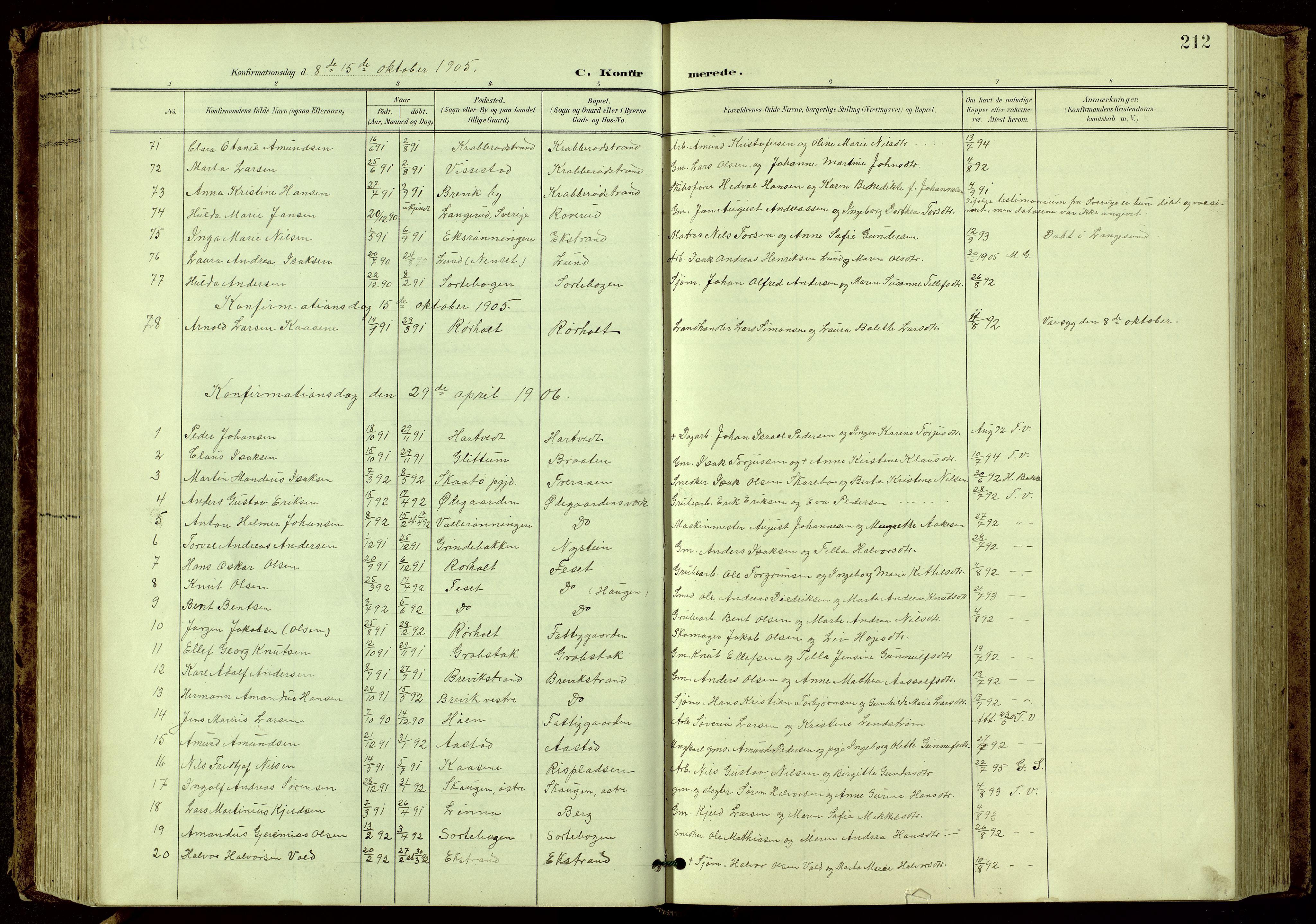 SAKO, Bamble kirkebøker, G/Ga/L0010: Klokkerbok nr. I 10, 1901-1919, s. 212