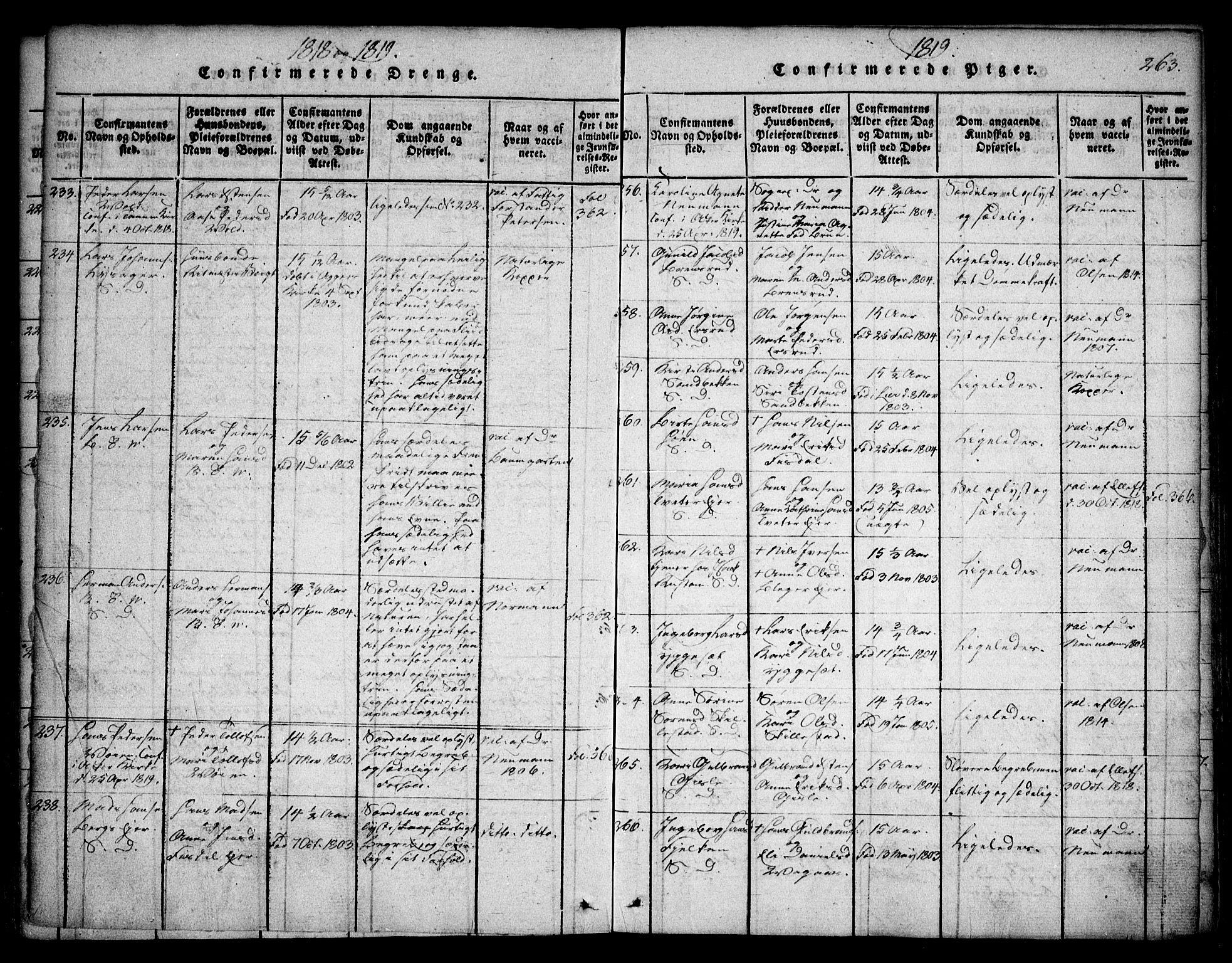 SAO, Asker prestekontor Kirkebøker, F/Fa/L0006: Ministerialbok nr. I 6, 1814-1824, s. 263