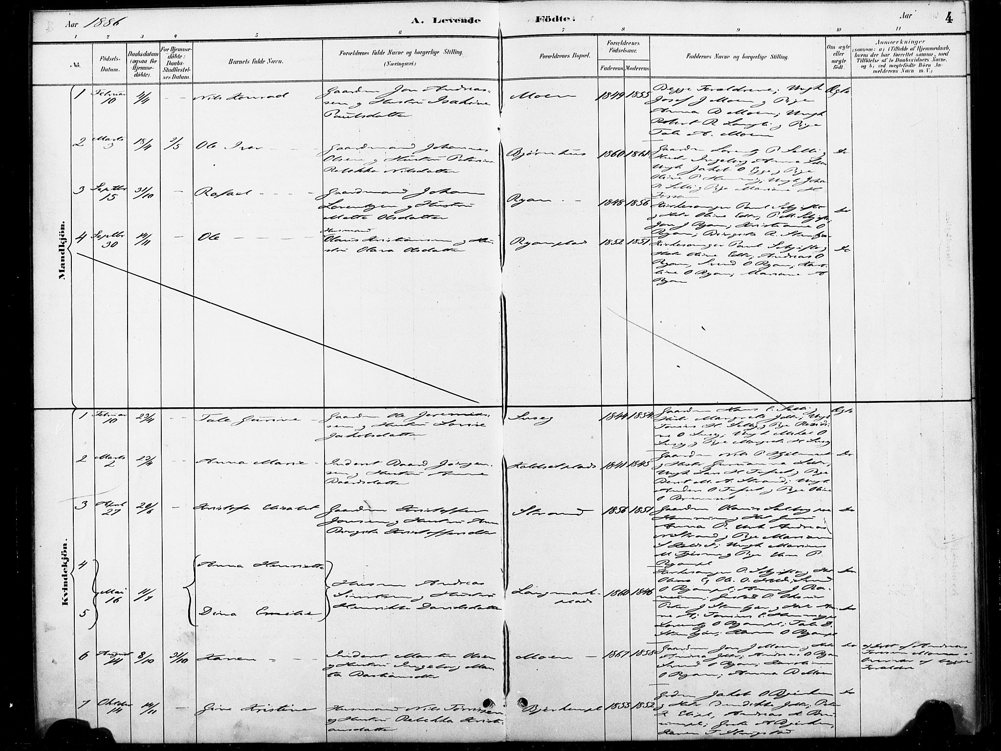 SAT, Ministerialprotokoller, klokkerbøker og fødselsregistre - Nord-Trøndelag, 738/L0364: Ministerialbok nr. 738A01, 1884-1902, s. 4