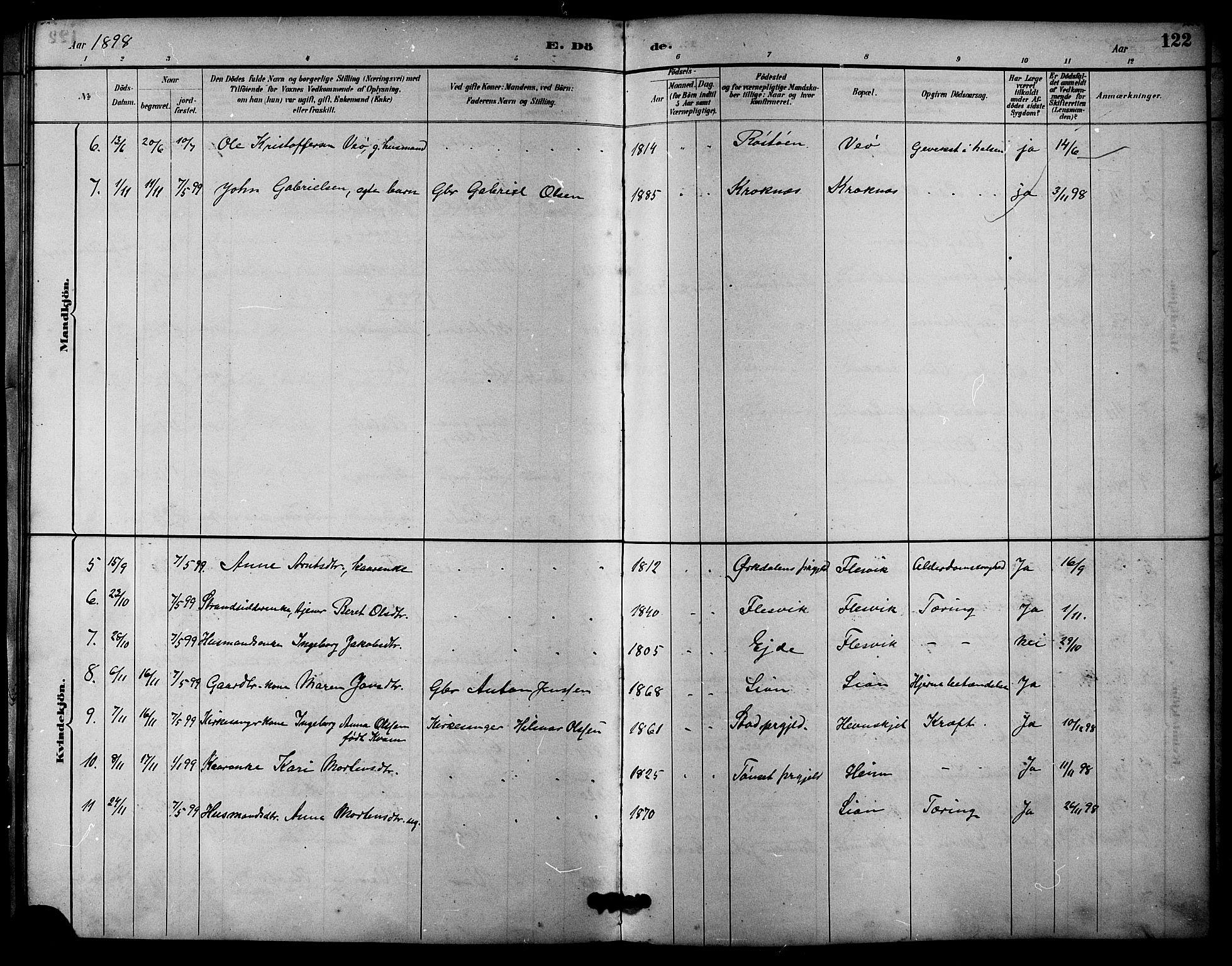 SAT, Ministerialprotokoller, klokkerbøker og fødselsregistre - Sør-Trøndelag, 633/L0519: Klokkerbok nr. 633C01, 1884-1905, s. 122