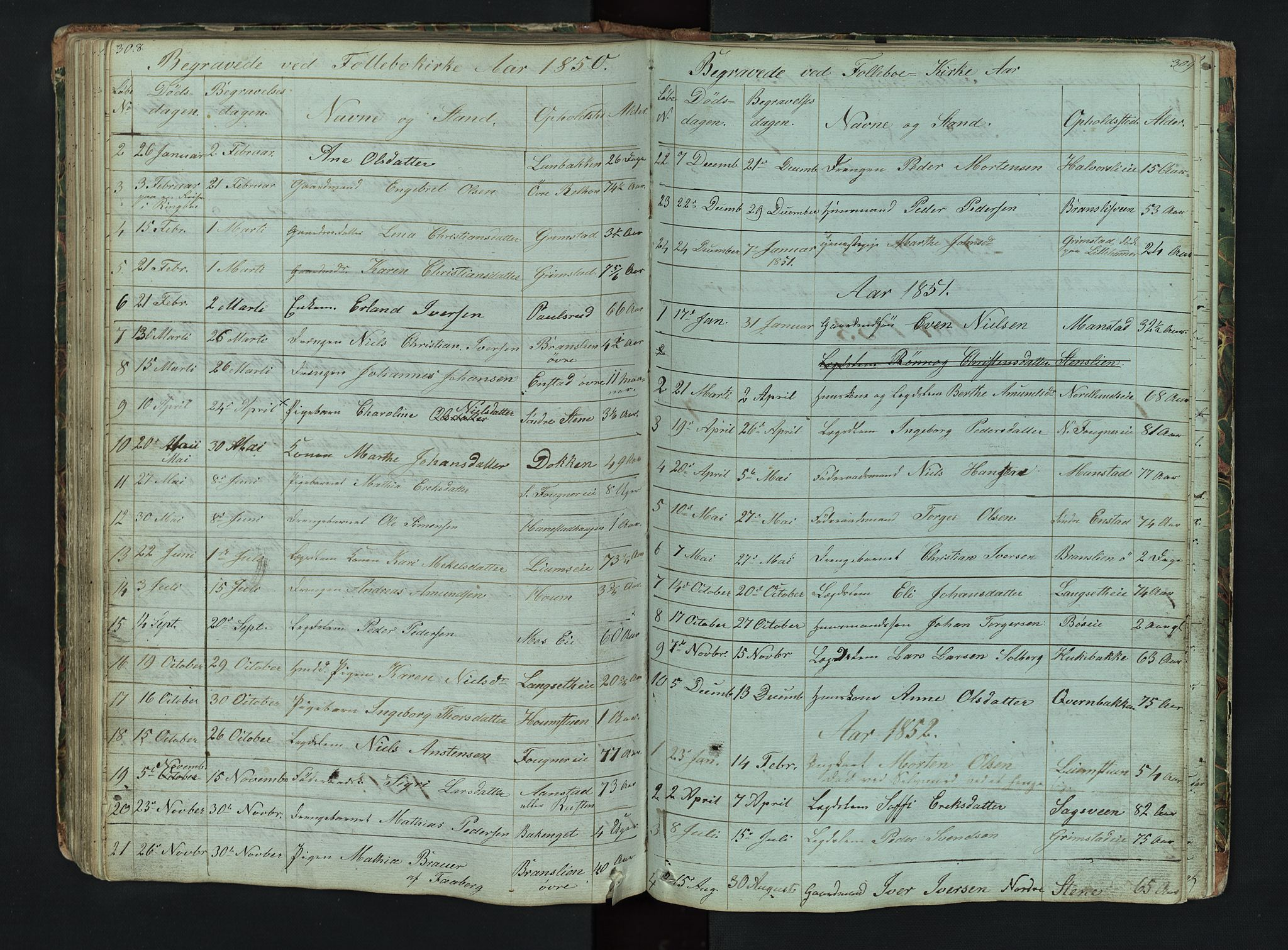 SAH, Gausdal prestekontor, Klokkerbok nr. 6, 1846-1893, s. 308-309
