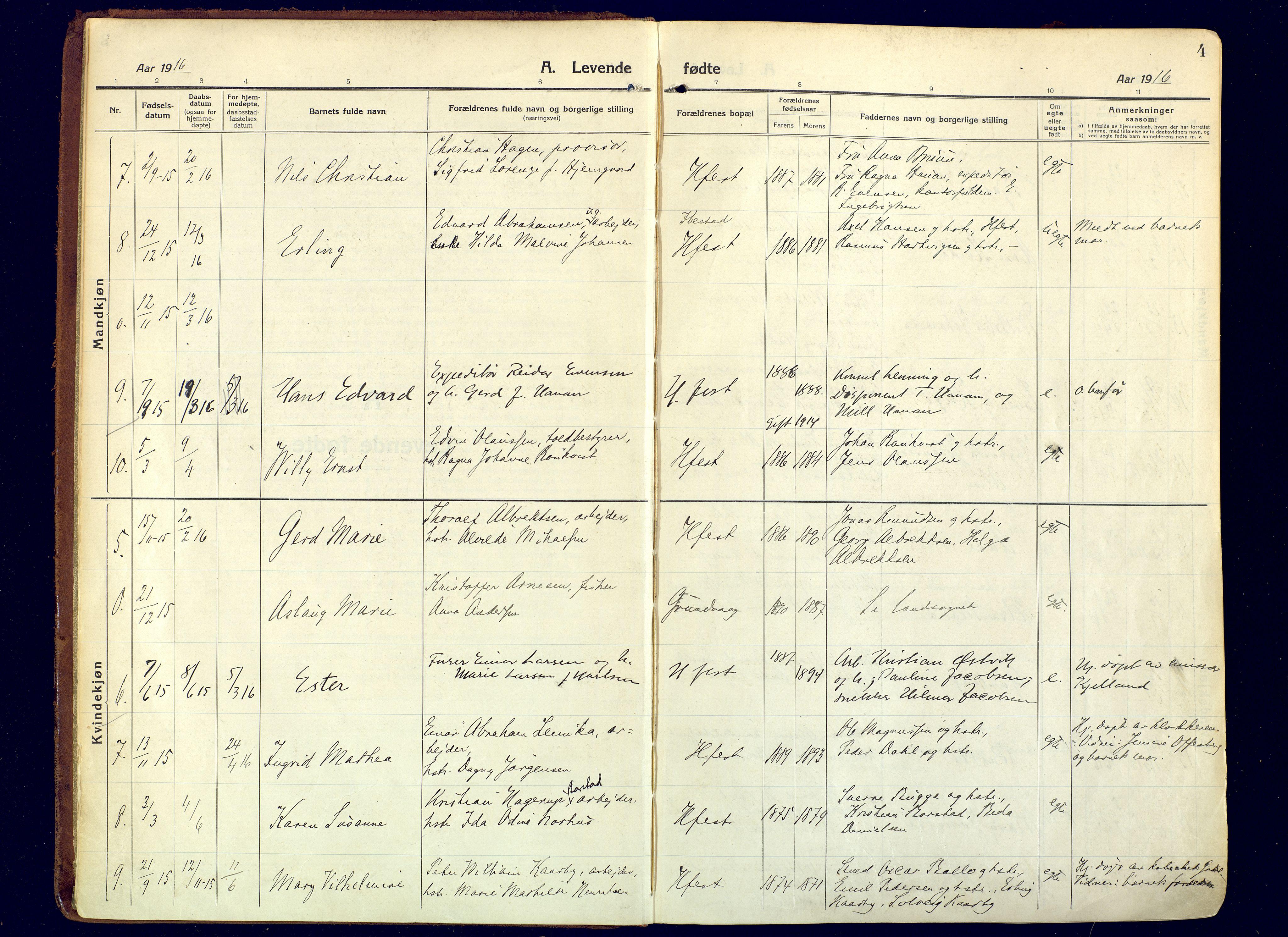 SATØ, Hammerfest sokneprestembete, Ministerialbok nr. 15, 1916-1923, s. 4