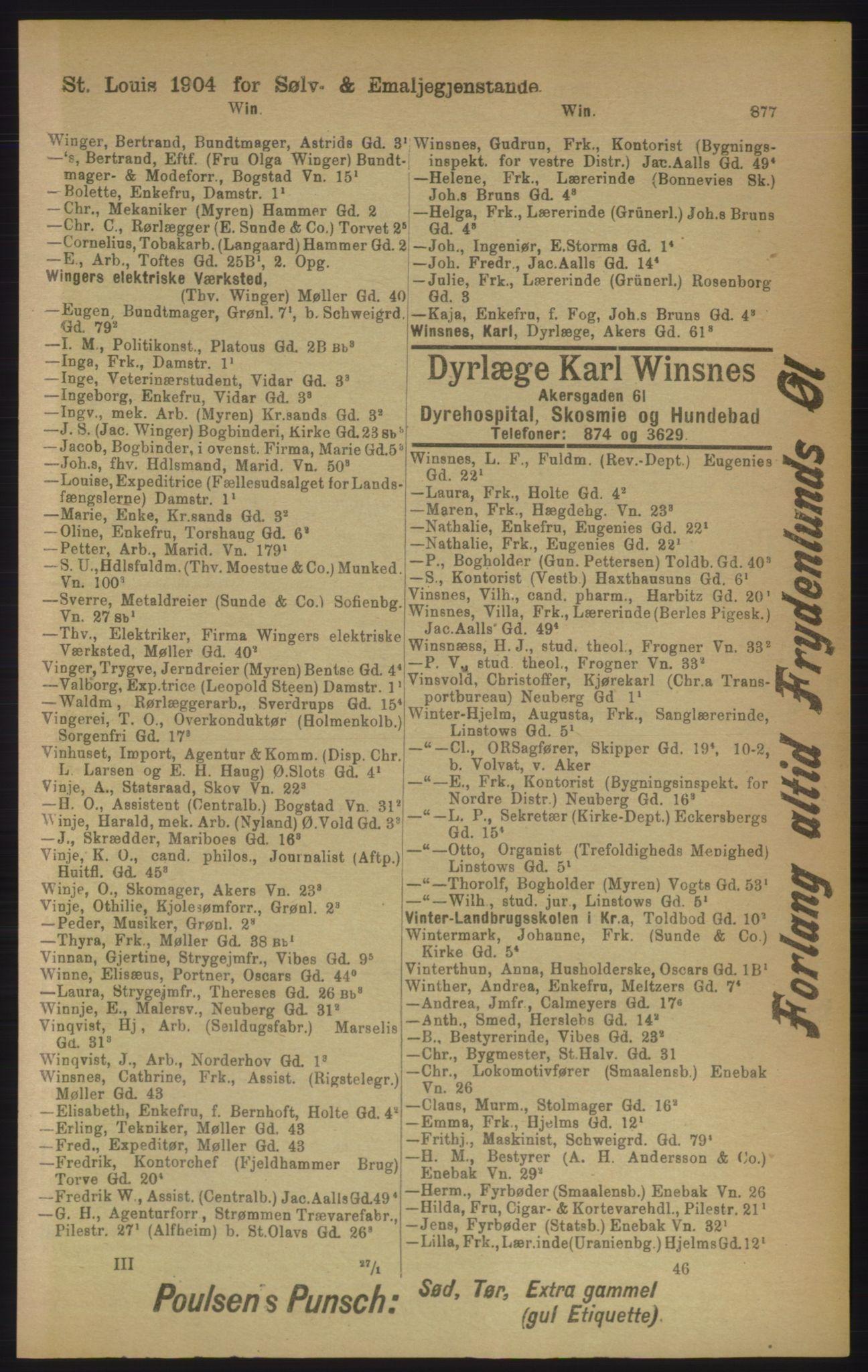 RA, Kristiania adressebok (publikasjon)*, 1906, s. 877