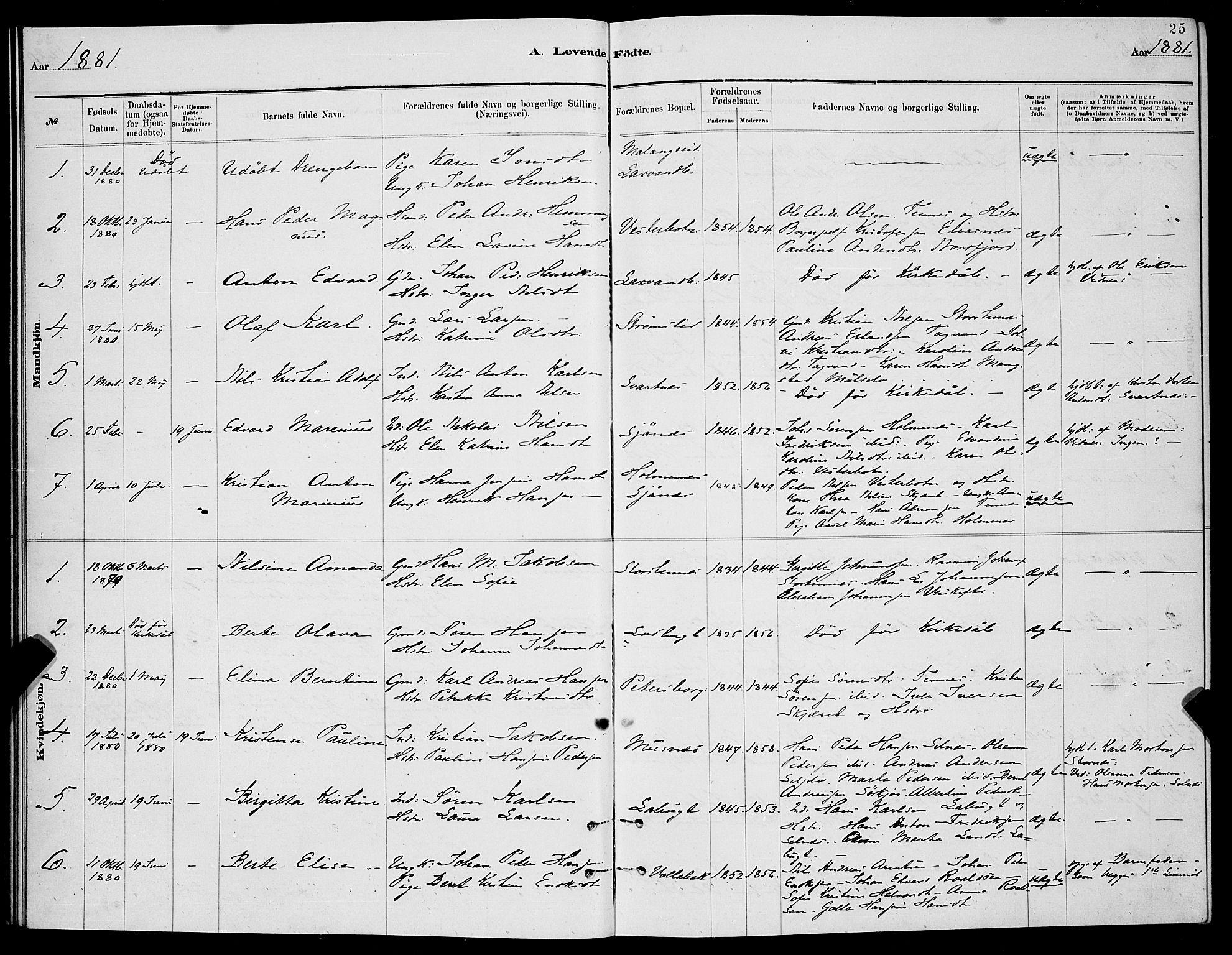 SATØ, Balsfjord sokneprestembete, Klokkerbok nr. 7, 1878-1889, s. 25