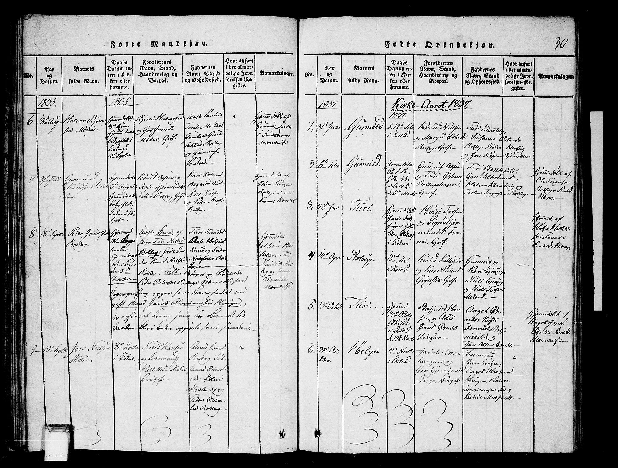 SAKO, Tinn kirkebøker, G/Gb/L0001: Klokkerbok nr. II 1 /1, 1815-1850, s. 30