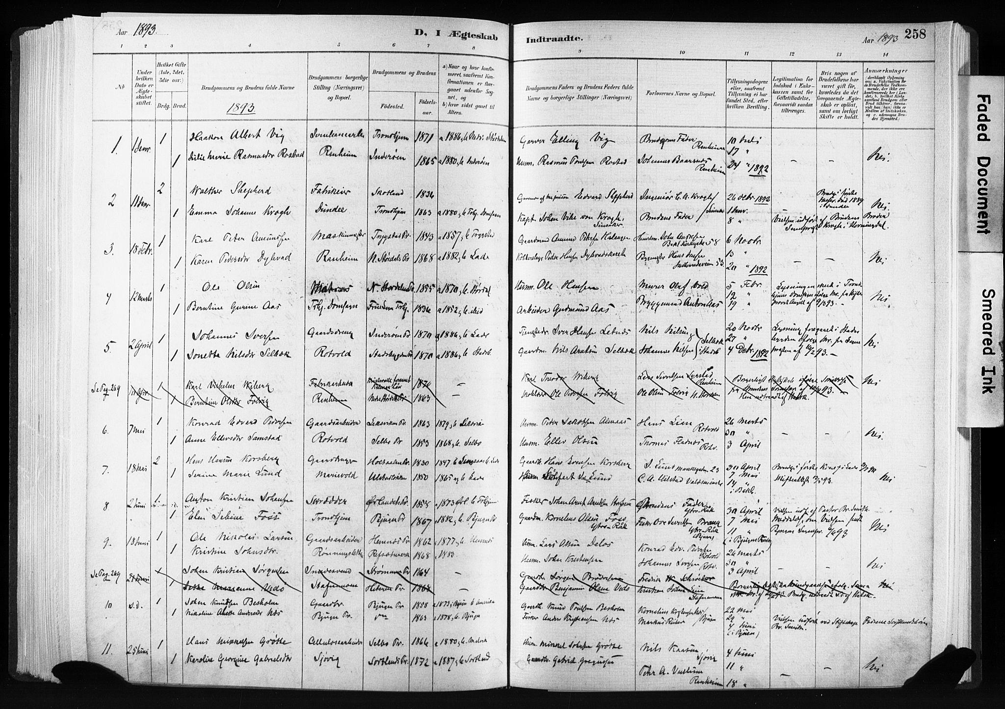 SAT, Ministerialprotokoller, klokkerbøker og fødselsregistre - Sør-Trøndelag, 606/L0300: Ministerialbok nr. 606A15, 1886-1893, s. 258