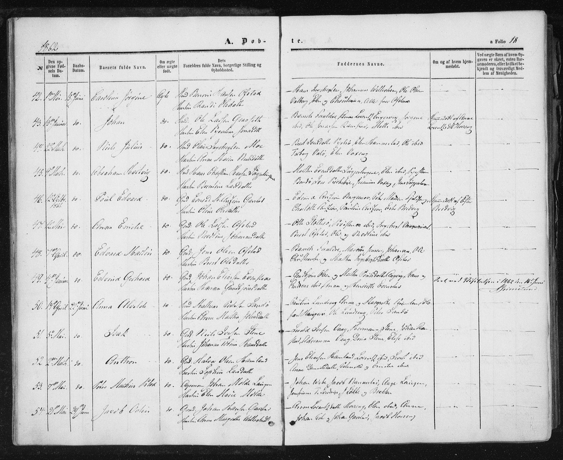 SAT, Ministerialprotokoller, klokkerbøker og fødselsregistre - Nord-Trøndelag, 784/L0670: Ministerialbok nr. 784A05, 1860-1876, s. 18