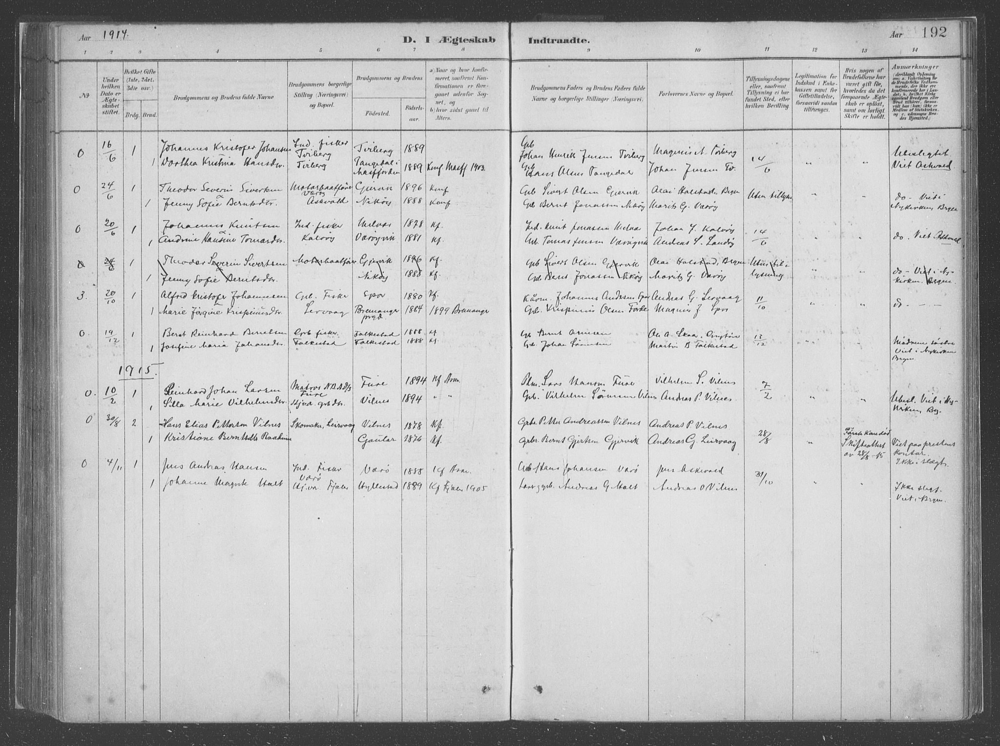 SAB, Askvoll Sokneprestembete, Ministerialbok nr. C  1, 1879-1922, s. 192