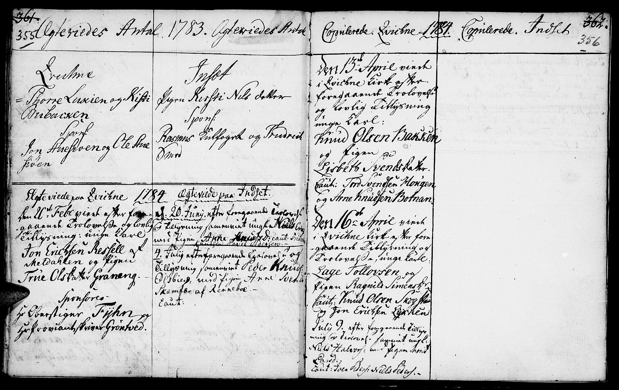 SAH, Kvikne prestekontor, Ministerialbok nr. 2, 1764-1784, s. 355-356