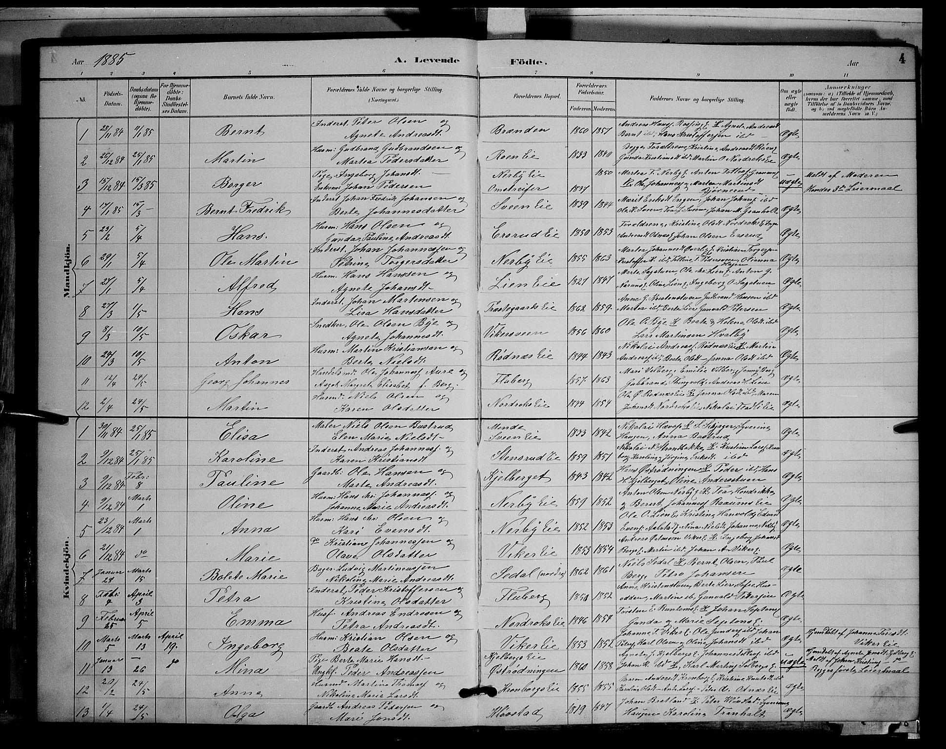 SAH, Søndre Land prestekontor, L/L0003: Klokkerbok nr. 3, 1884-1902, s. 4