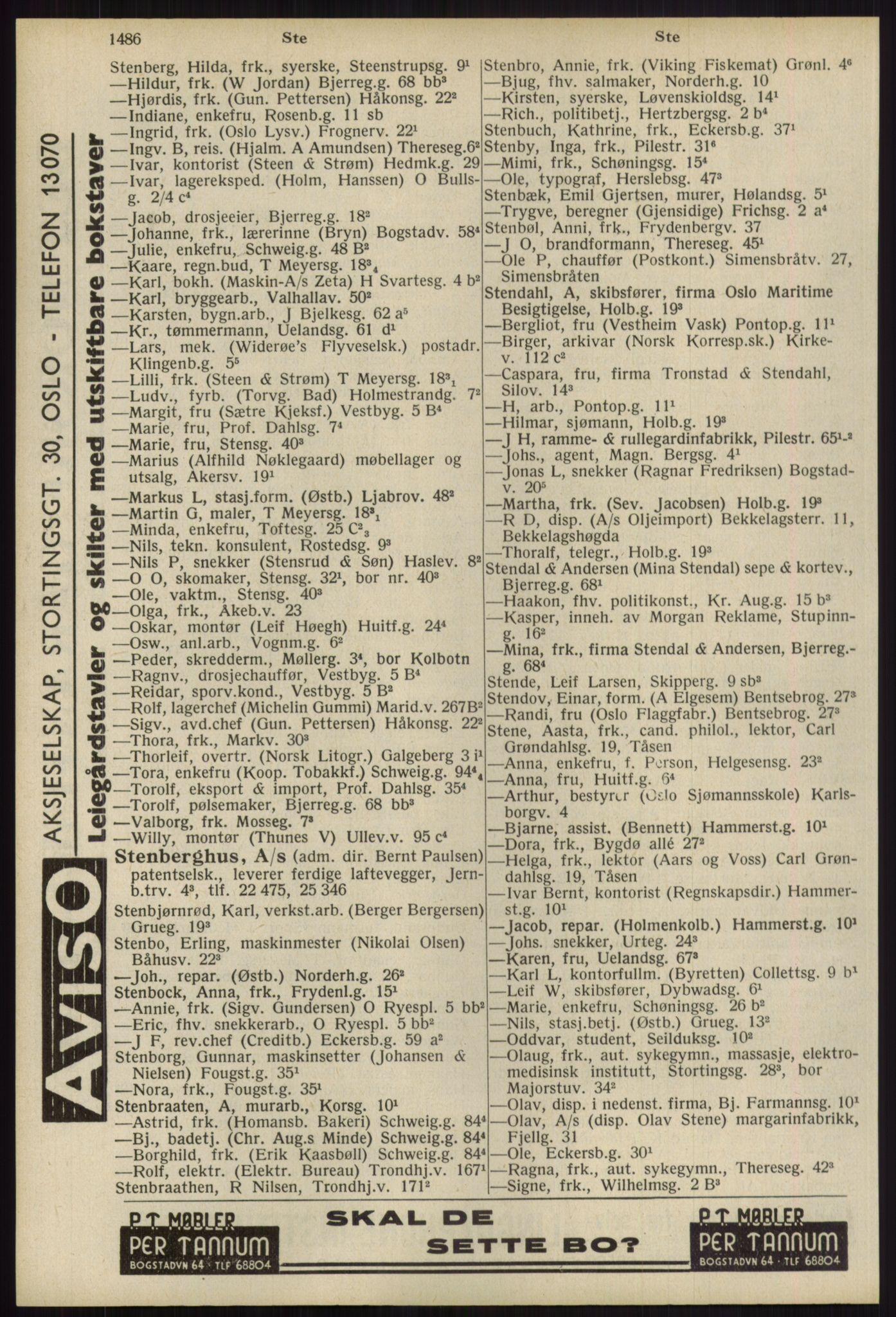 RA, Oslo adressebok (publikasjon)*, 1939, s. 1486