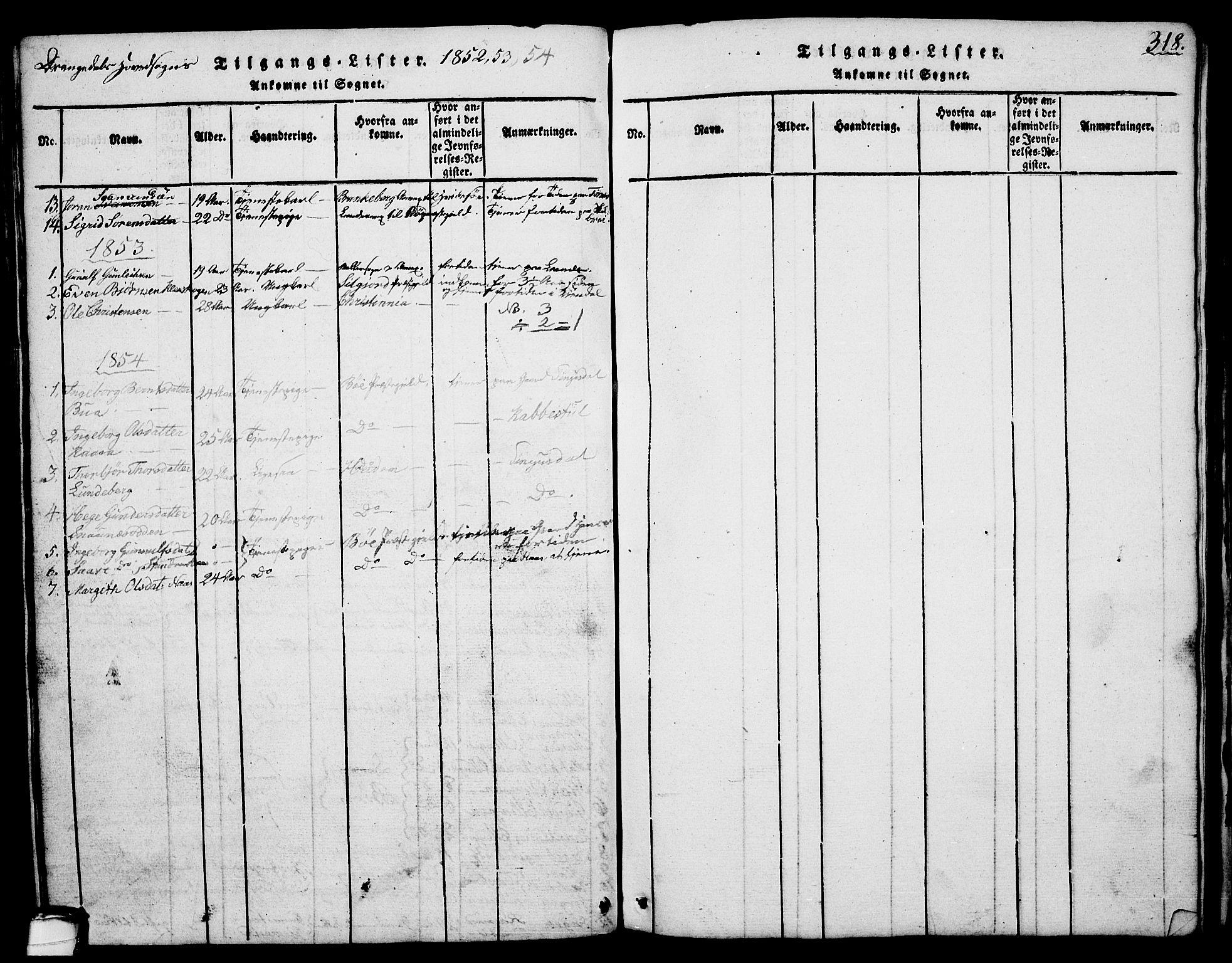 SAKO, Drangedal kirkebøker, G/Ga/L0001: Klokkerbok nr. I 1 /1, 1814-1856, s. 318