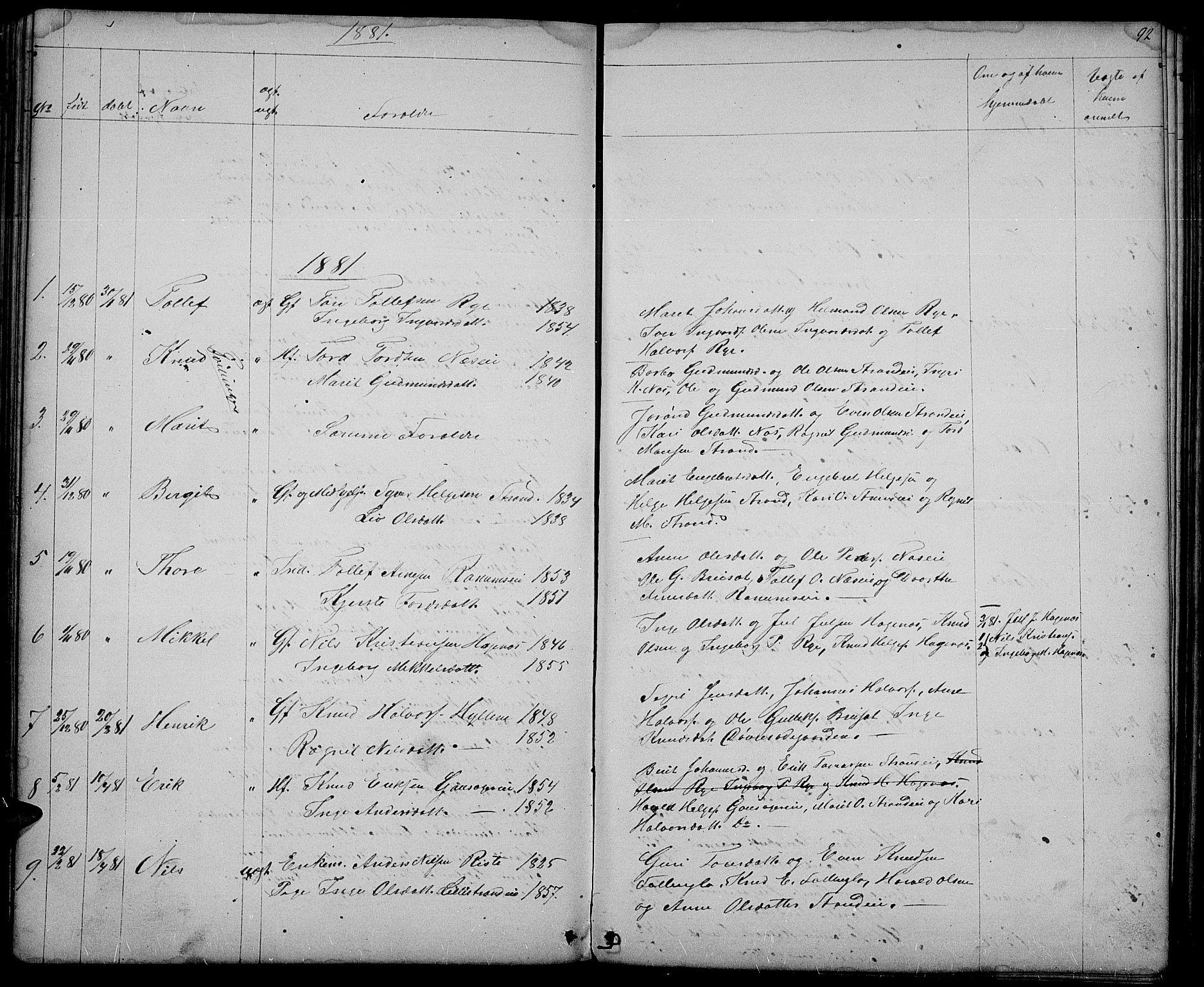 SAH, Nord-Aurdal prestekontor, Klokkerbok nr. 3, 1842-1882, s. 92