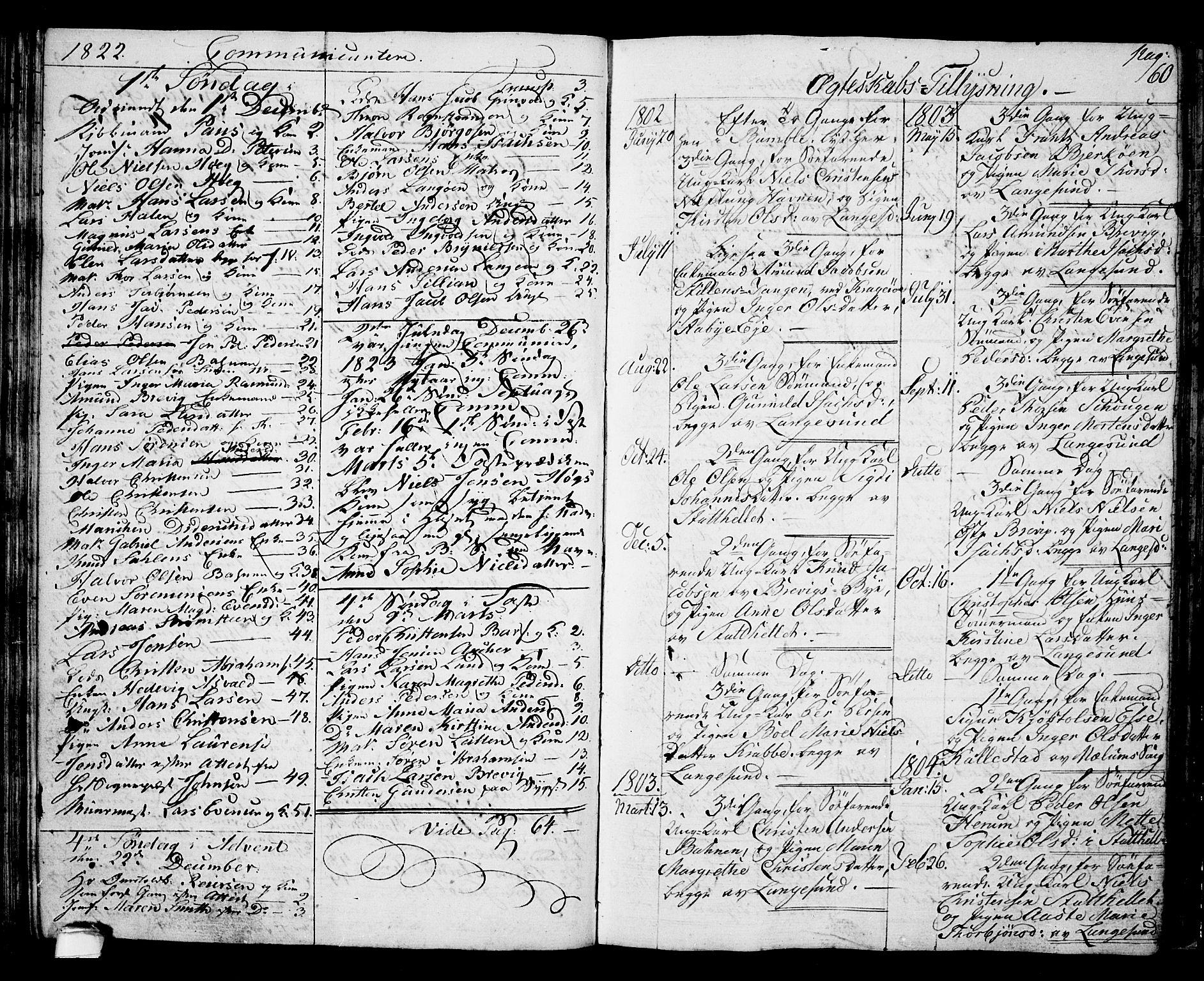 SAKO, Langesund kirkebøker, G/Ga/L0002: Klokkerbok nr. 2, 1801-1815, s. 60