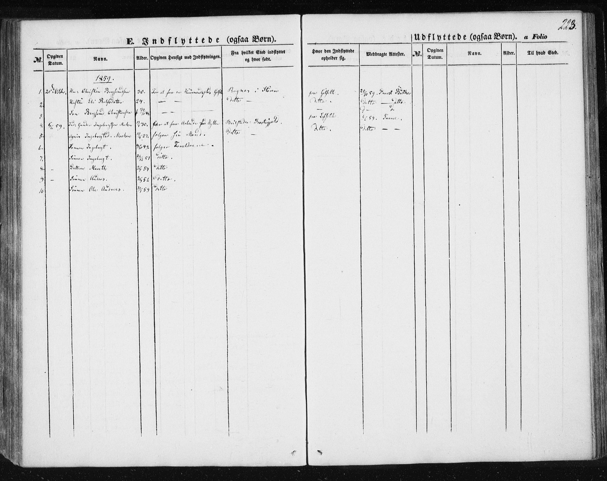 SAT, Ministerialprotokoller, klokkerbøker og fødselsregistre - Sør-Trøndelag, 685/L0963: Ministerialbok nr. 685A06 /1, 1846-1859, s. 223