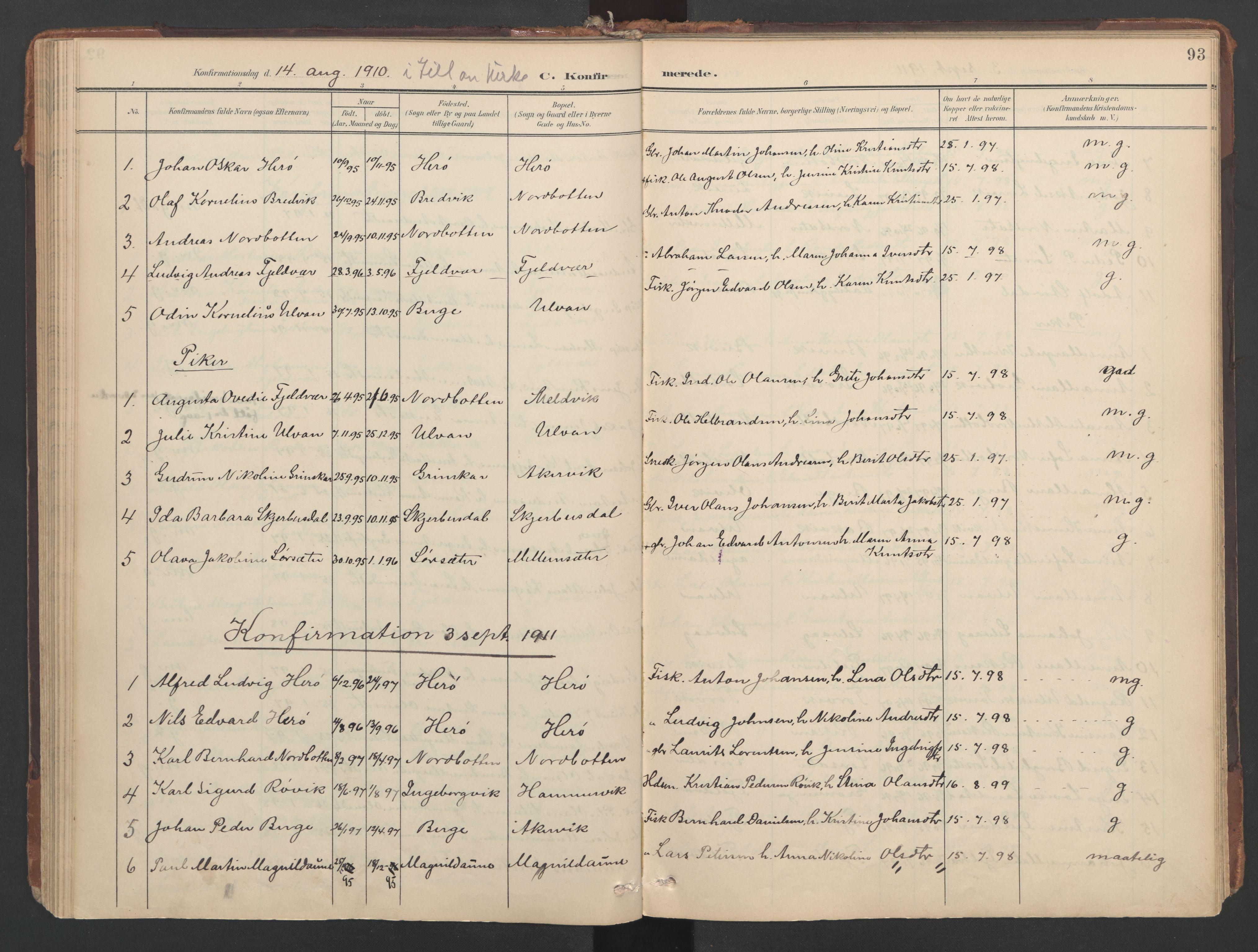 SAT, Ministerialprotokoller, klokkerbøker og fødselsregistre - Sør-Trøndelag, 638/L0568: Ministerialbok nr. 638A01, 1901-1916, s. 93