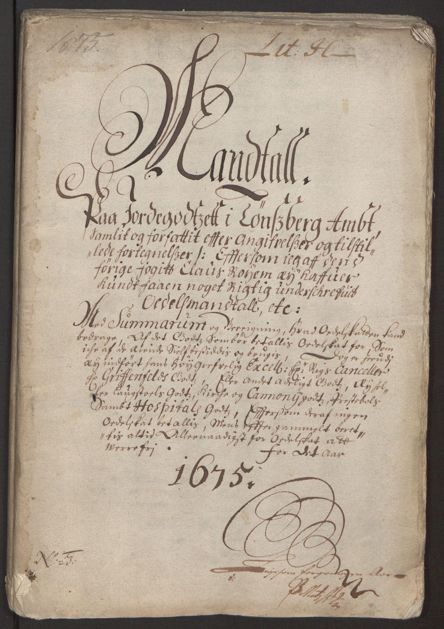 RA, Rentekammeret inntil 1814, Reviderte regnskaper, Fogderegnskap, R32/L1843: Fogderegnskap Jarlsberg grevskap, 1674-1675, s. 197