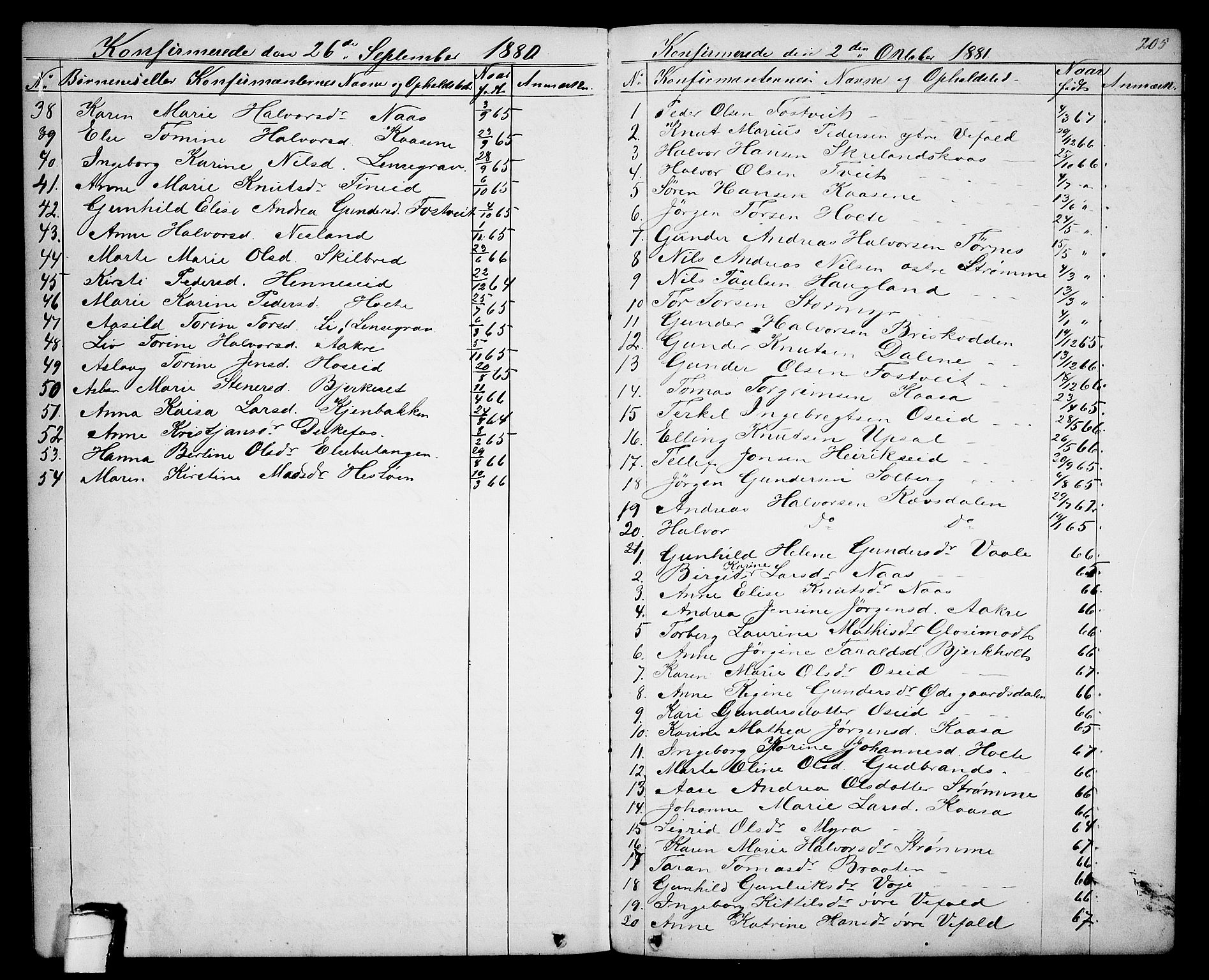 SAKO, Drangedal kirkebøker, G/Ga/L0002: Klokkerbok nr. I 2, 1856-1887, s. 205