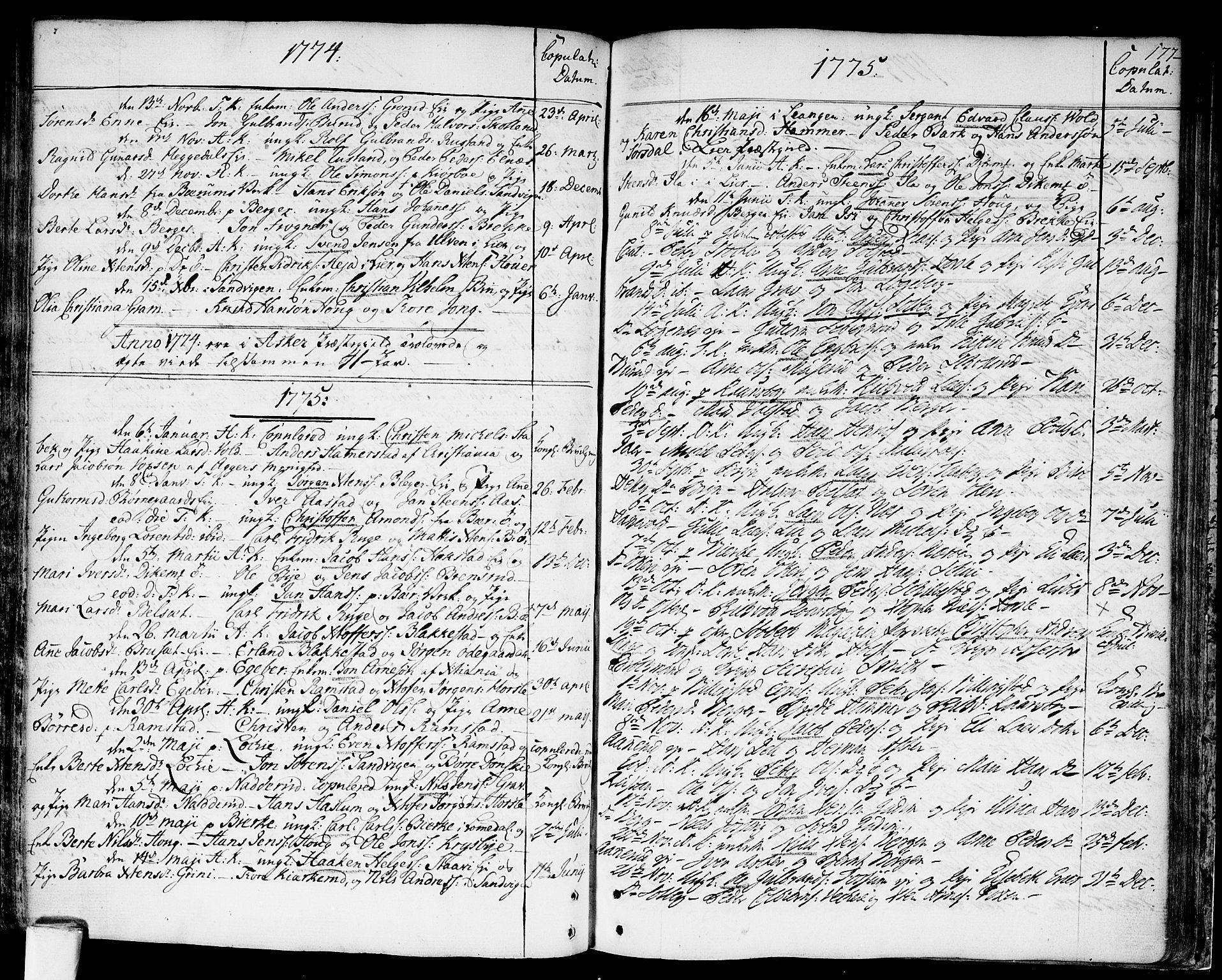 SAO, Asker prestekontor Kirkebøker, F/Fa/L0003: Ministerialbok nr. I 3, 1767-1807, s. 177