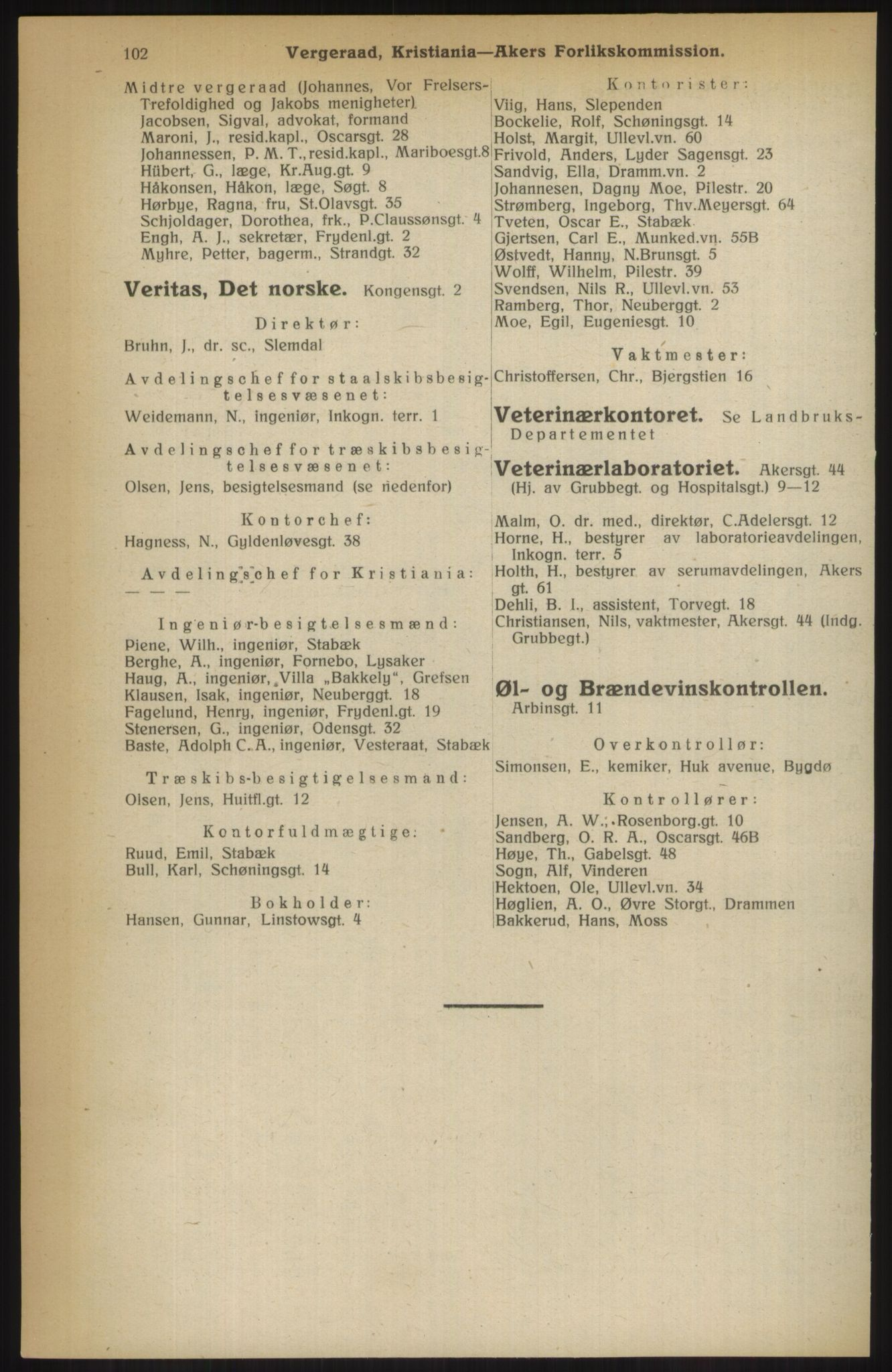 RA, Kristiania adressebok (publikasjon)*, 1914, s. 102