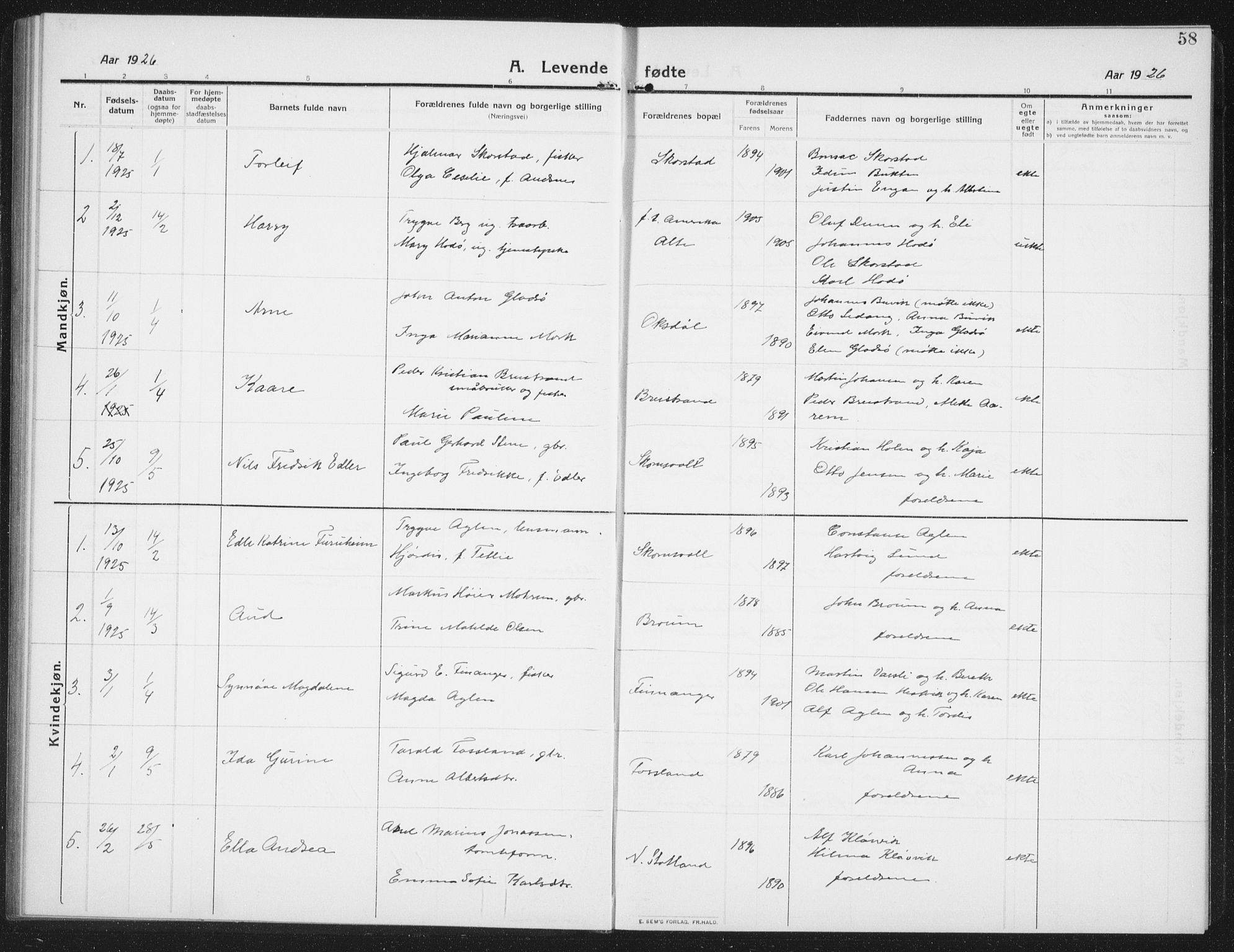 SAT, Ministerialprotokoller, klokkerbøker og fødselsregistre - Nord-Trøndelag, 774/L0630: Klokkerbok nr. 774C01, 1910-1934, s. 58
