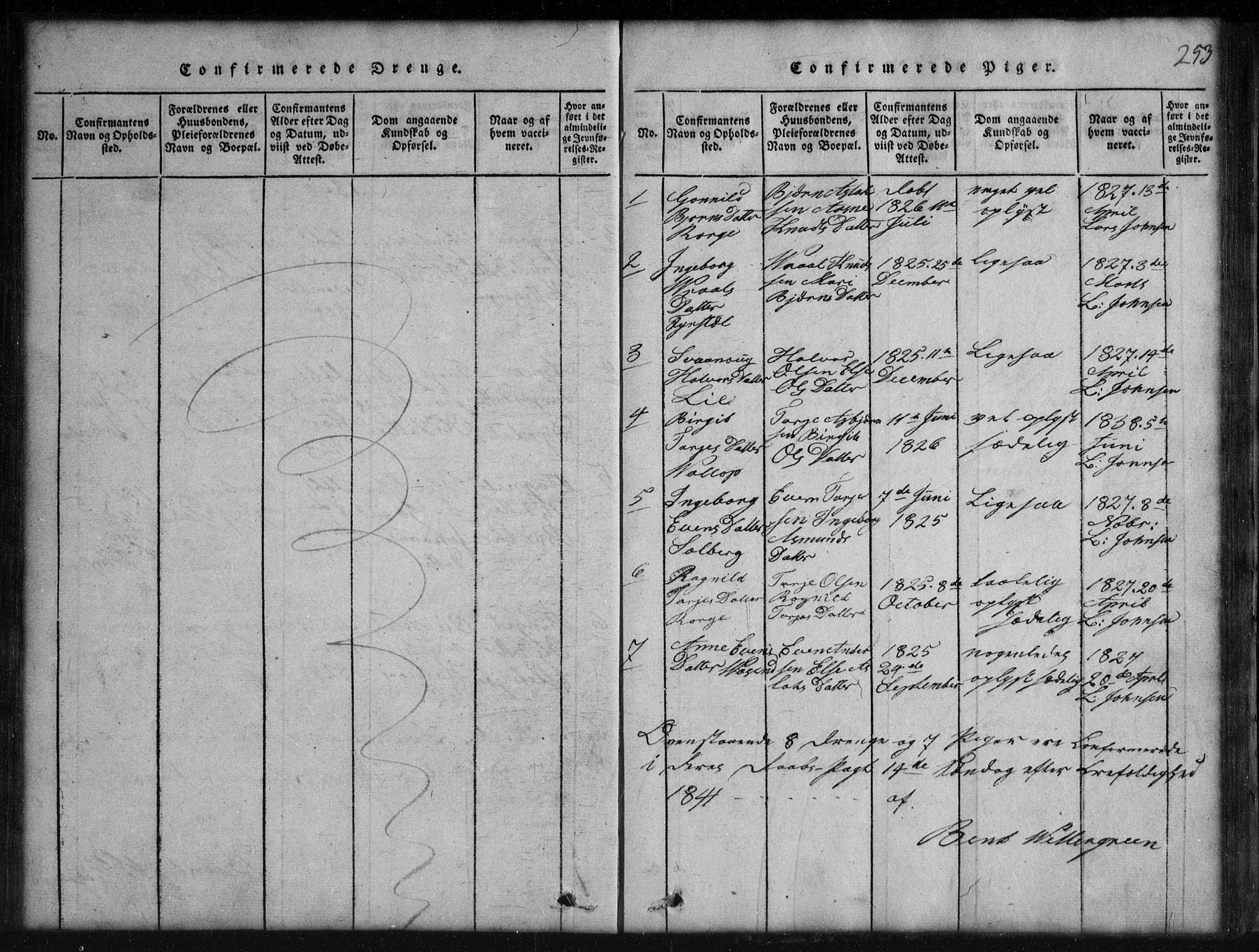 SAKO, Rauland kirkebøker, G/Gb/L0001: Klokkerbok nr. II 1, 1815-1886, s. 253