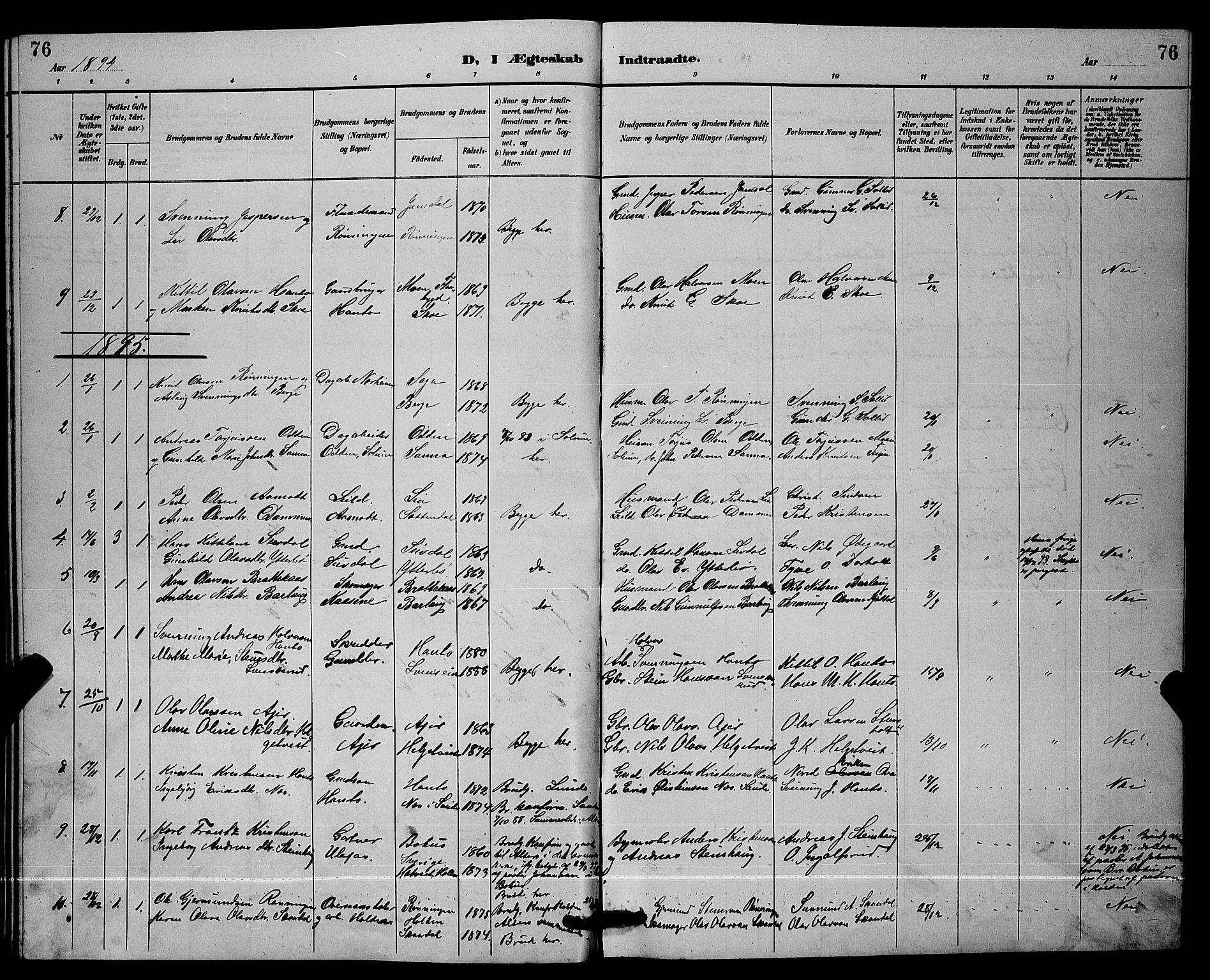 SAKO, Lunde kirkebøker, G/Ga/L0002: Klokkerbok nr. I 2, 1887-1896, s. 76