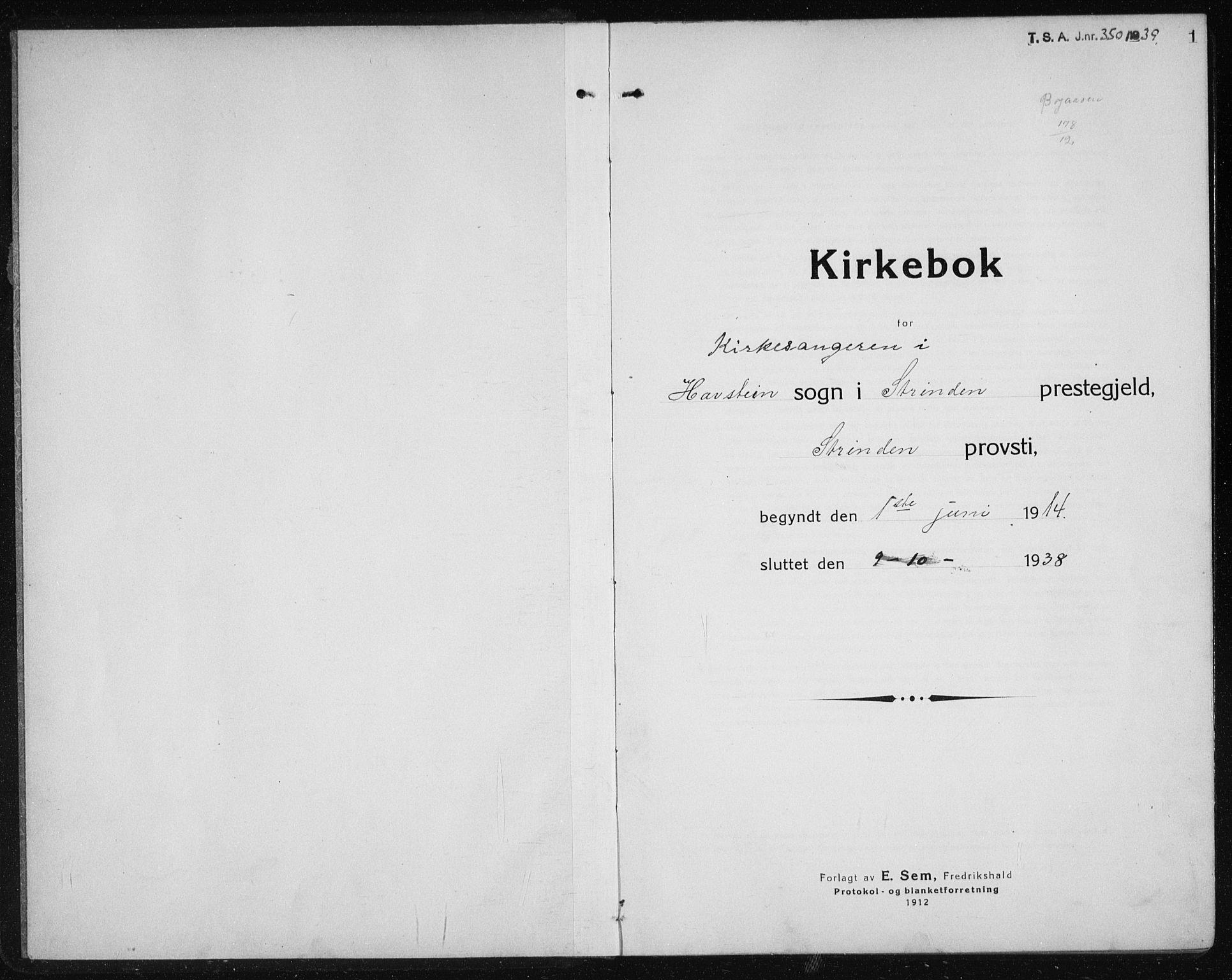 SAT, Ministerialprotokoller, klokkerbøker og fødselsregistre - Sør-Trøndelag, 611/L0356: Klokkerbok nr. 611C04, 1914-1938, s. 1