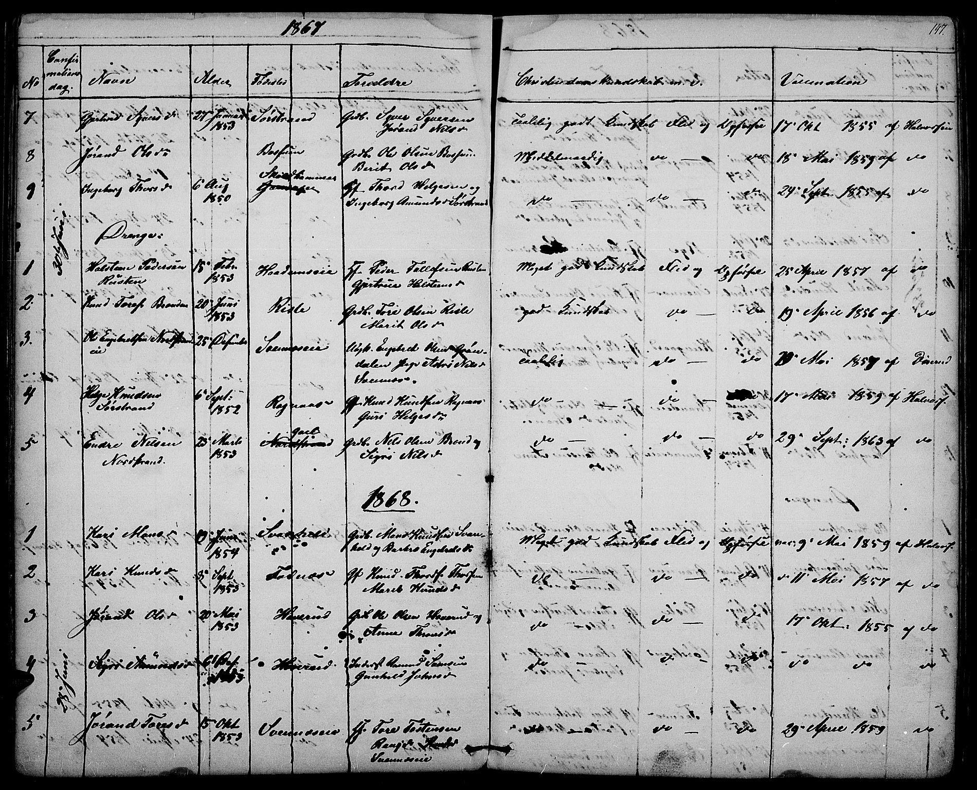 SAH, Nord-Aurdal prestekontor, Klokkerbok nr. 3, 1842-1882, s. 147
