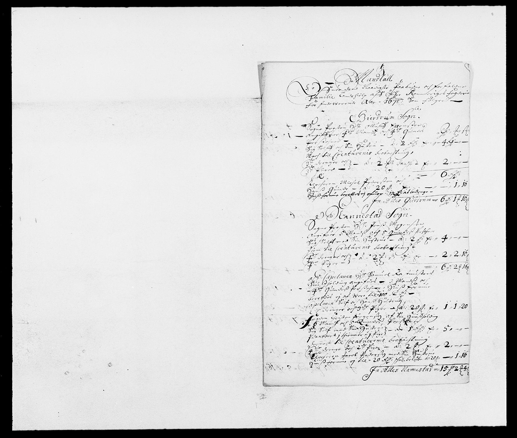 RA, Rentekammeret inntil 1814, Reviderte regnskaper, Fogderegnskap, R12/L0693: Fogderegnskap Øvre Romerike, 1678-1679, s. 260