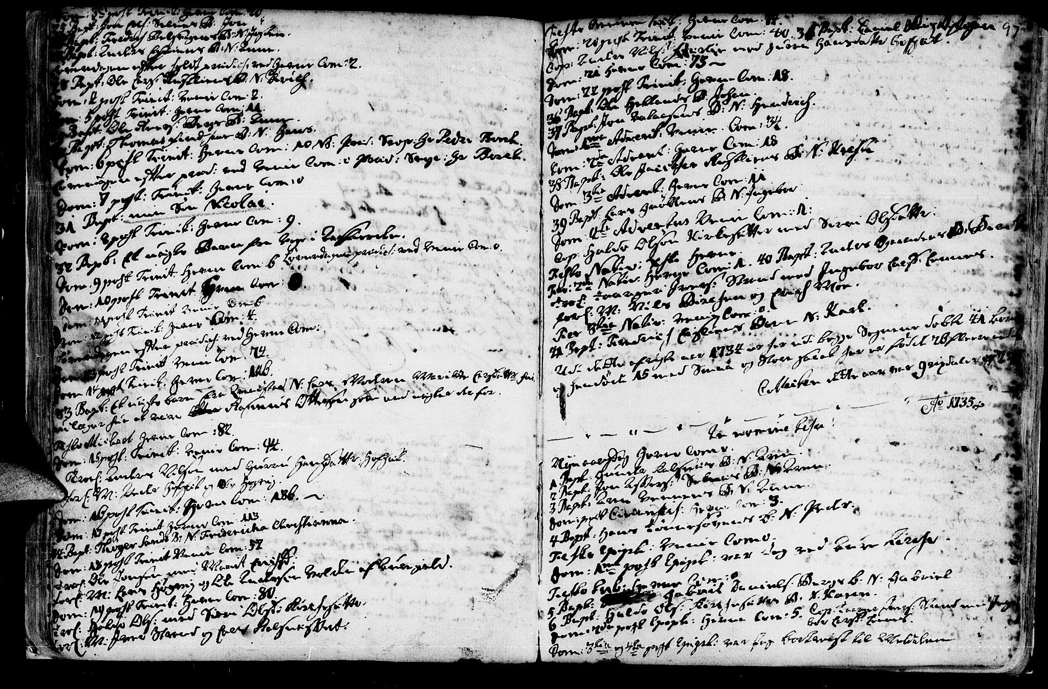 SAT, Ministerialprotokoller, klokkerbøker og fødselsregistre - Sør-Trøndelag, 630/L0488: Ministerialbok nr. 630A01, 1717-1756, s. 96-97