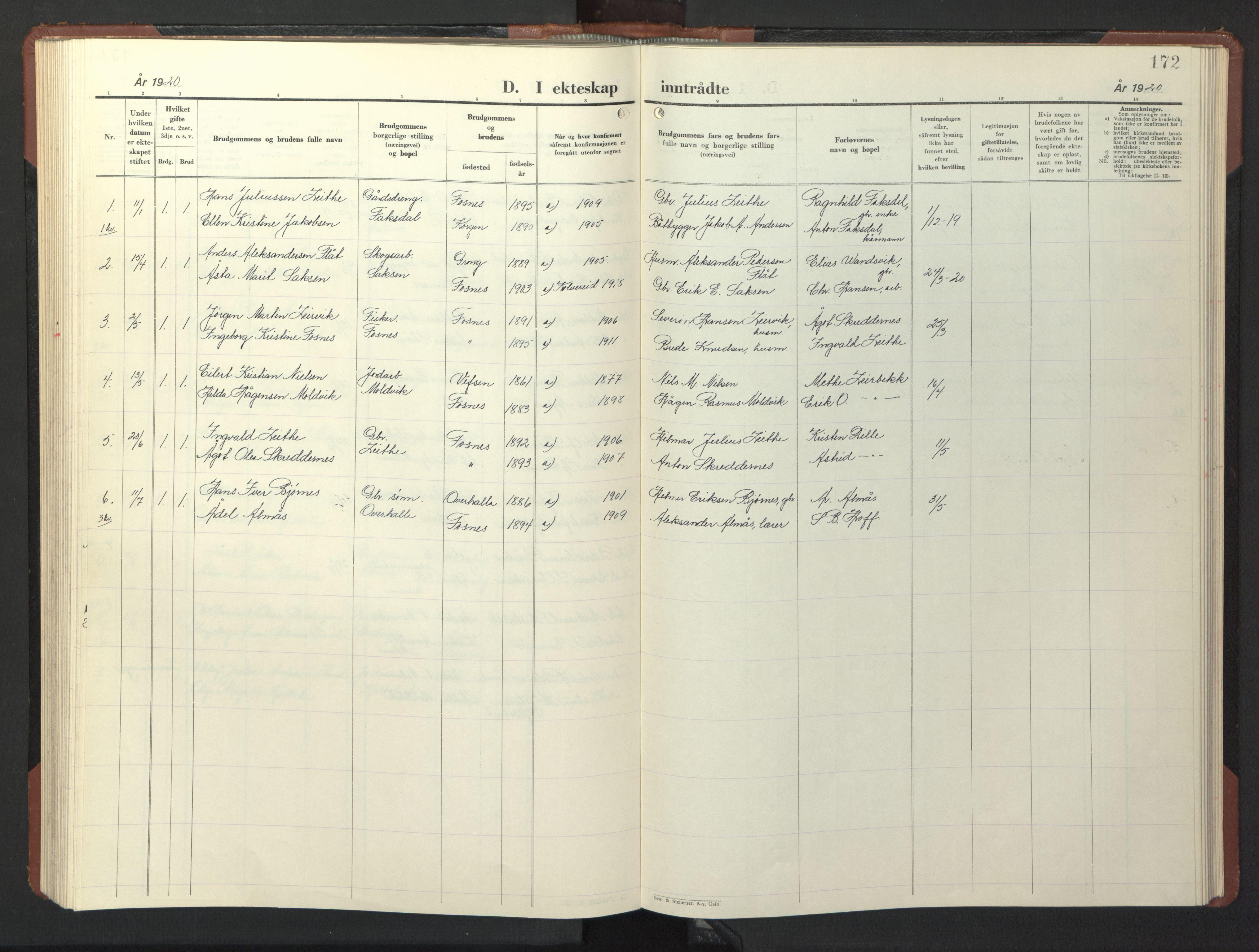 SAT, Ministerialprotokoller, klokkerbøker og fødselsregistre - Nord-Trøndelag, 773/L0625: Klokkerbok nr. 773C01, 1910-1952, s. 172