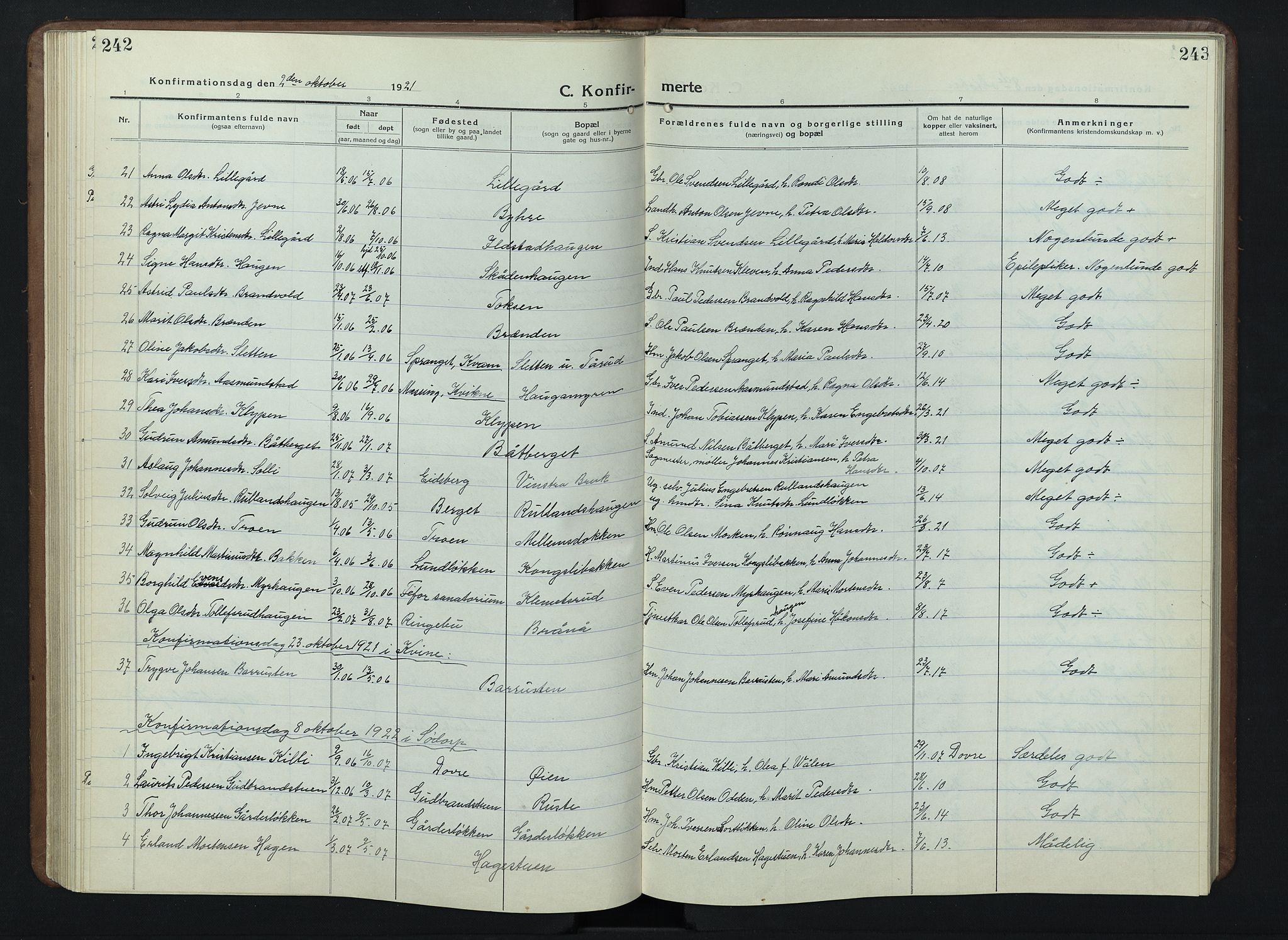SAH, Nord-Fron prestekontor, Klokkerbok nr. 7, 1915-1946, s. 242-243