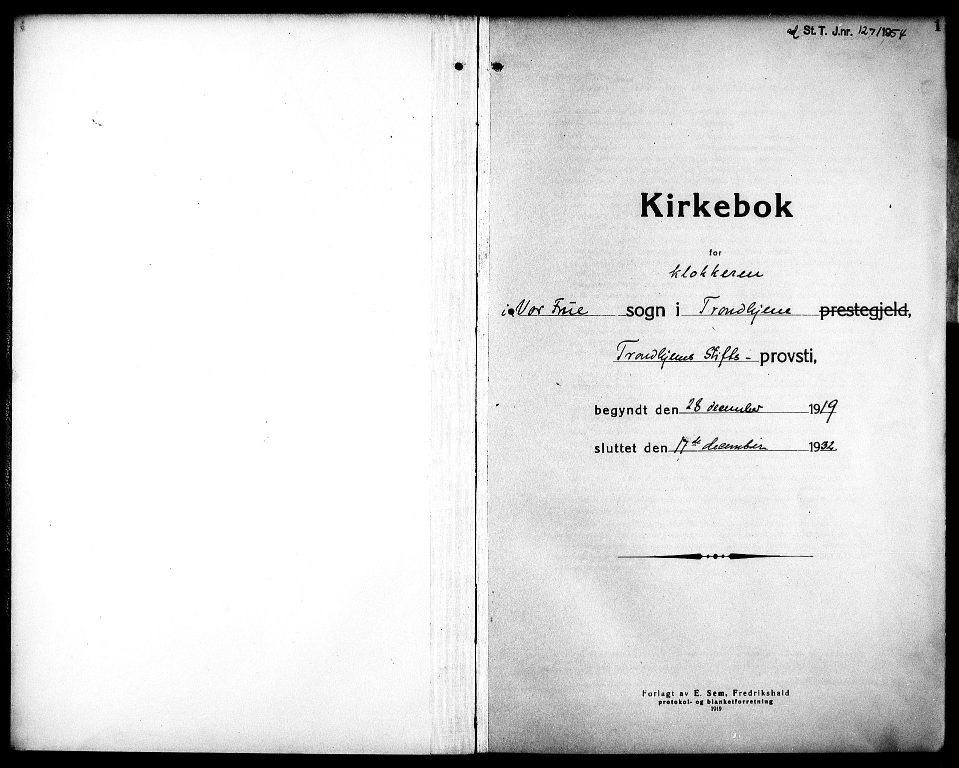 SAT, Ministerialprotokoller, klokkerbøker og fødselsregistre - Sør-Trøndelag, 602/L0149: Klokkerbok nr. 602C17, 1919-1932, s. 1