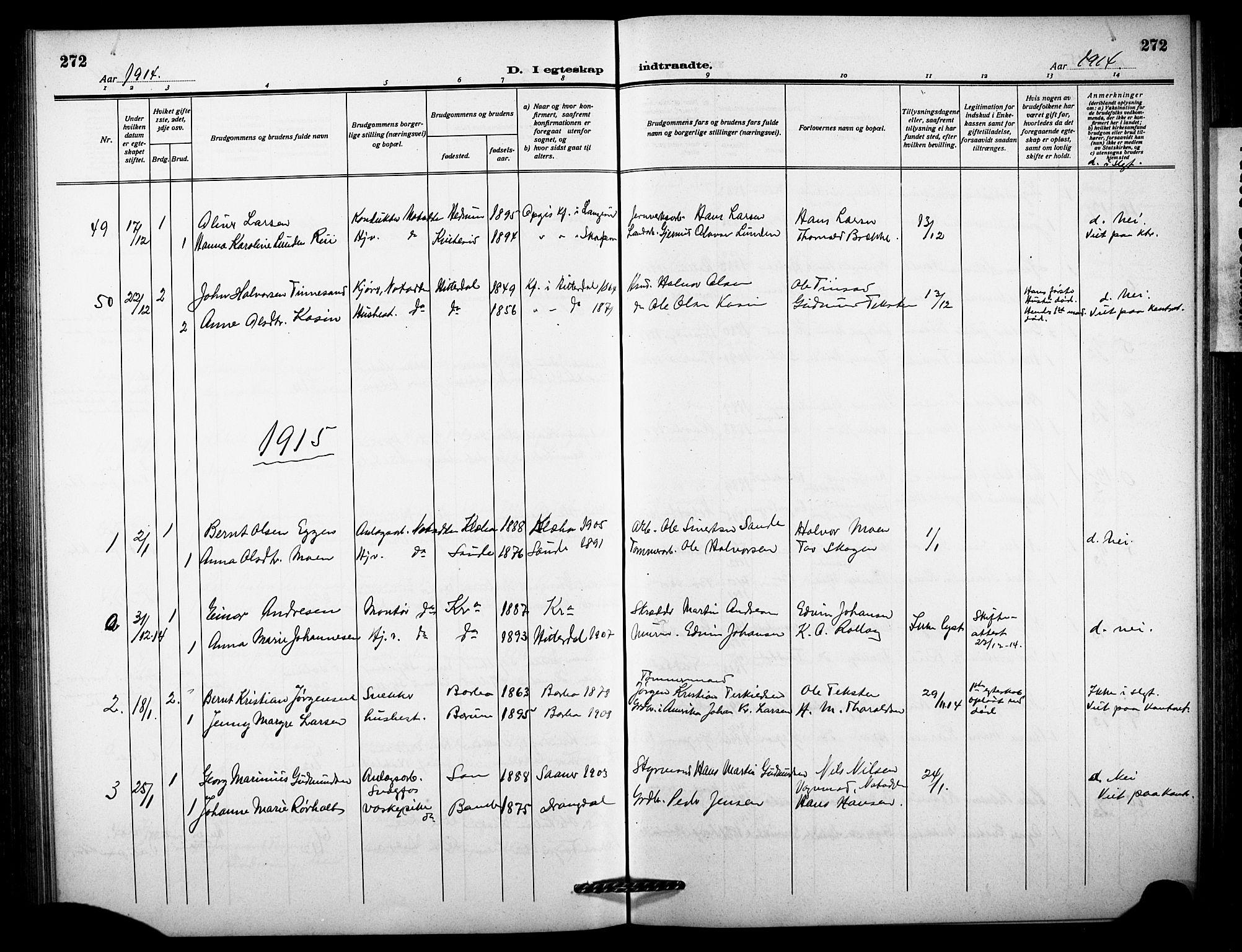 SAKO, Notodden kirkebøker, G/Ga/L0001: Klokkerbok nr. 1, 1912-1923, s. 272