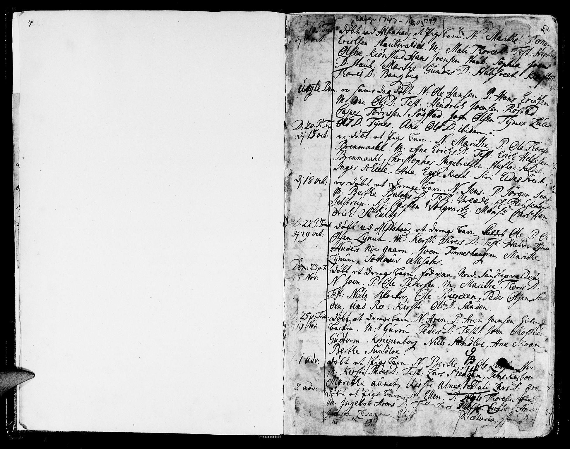 SAT, Ministerialprotokoller, klokkerbøker og fødselsregistre - Nord-Trøndelag, 717/L0141: Ministerialbok nr. 717A01, 1747-1803, s. 4-5