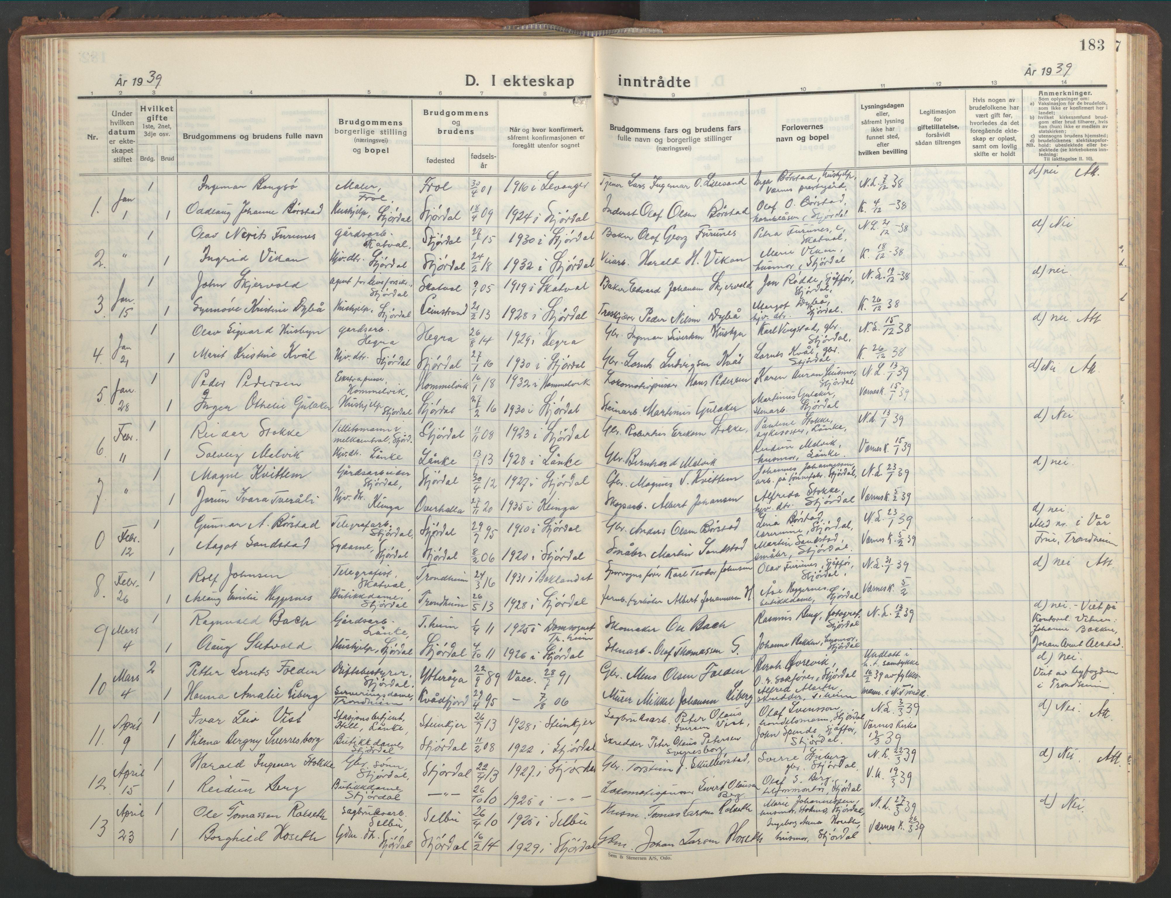SAT, Ministerialprotokoller, klokkerbøker og fødselsregistre - Nord-Trøndelag, 709/L0089: Klokkerbok nr. 709C03, 1935-1948, s. 183