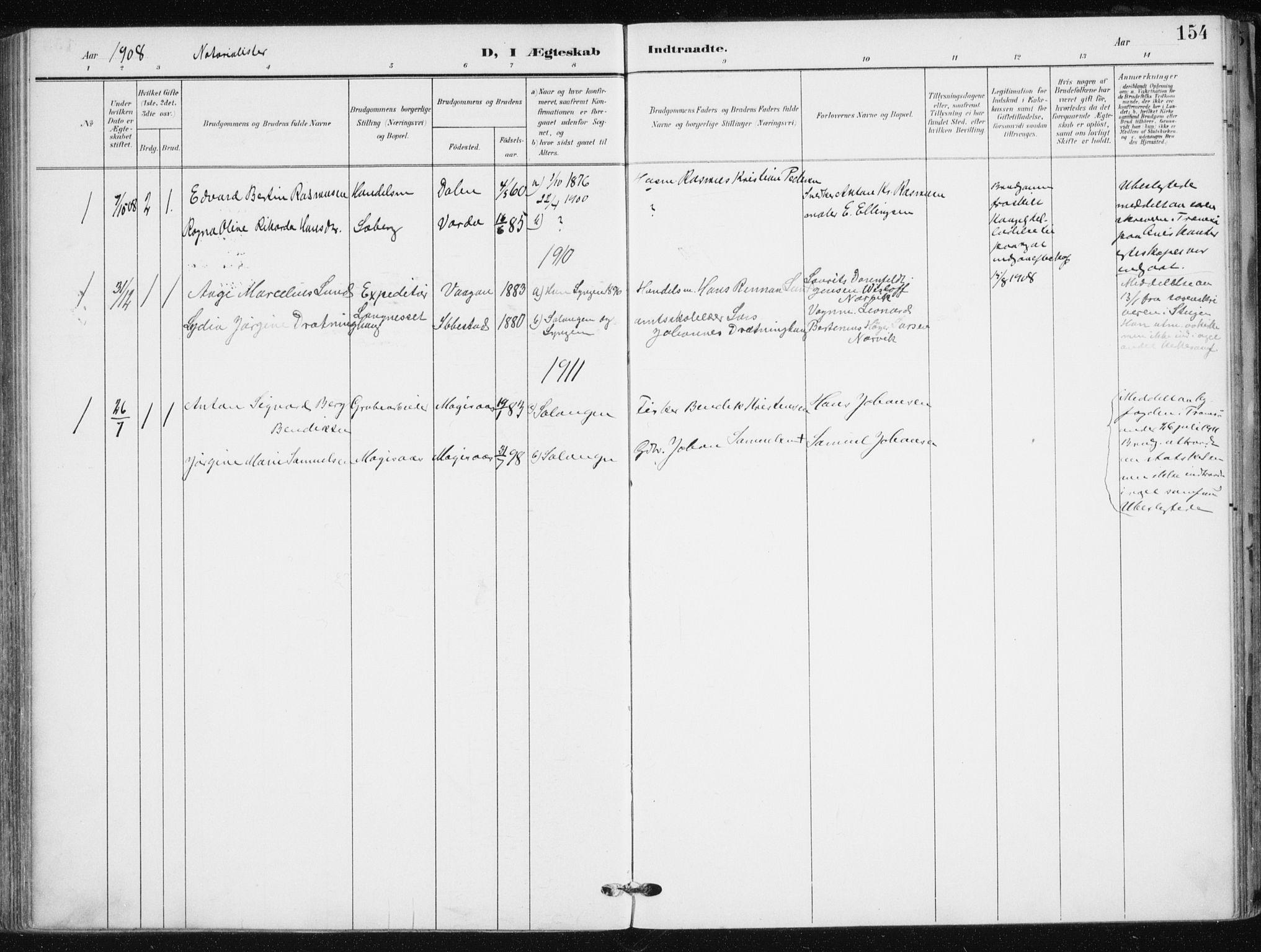 SATØ, Salangen sokneprestembete, H/Ha/L0002kirke: Ministerialbok nr. 2, 1902-1911, s. 154