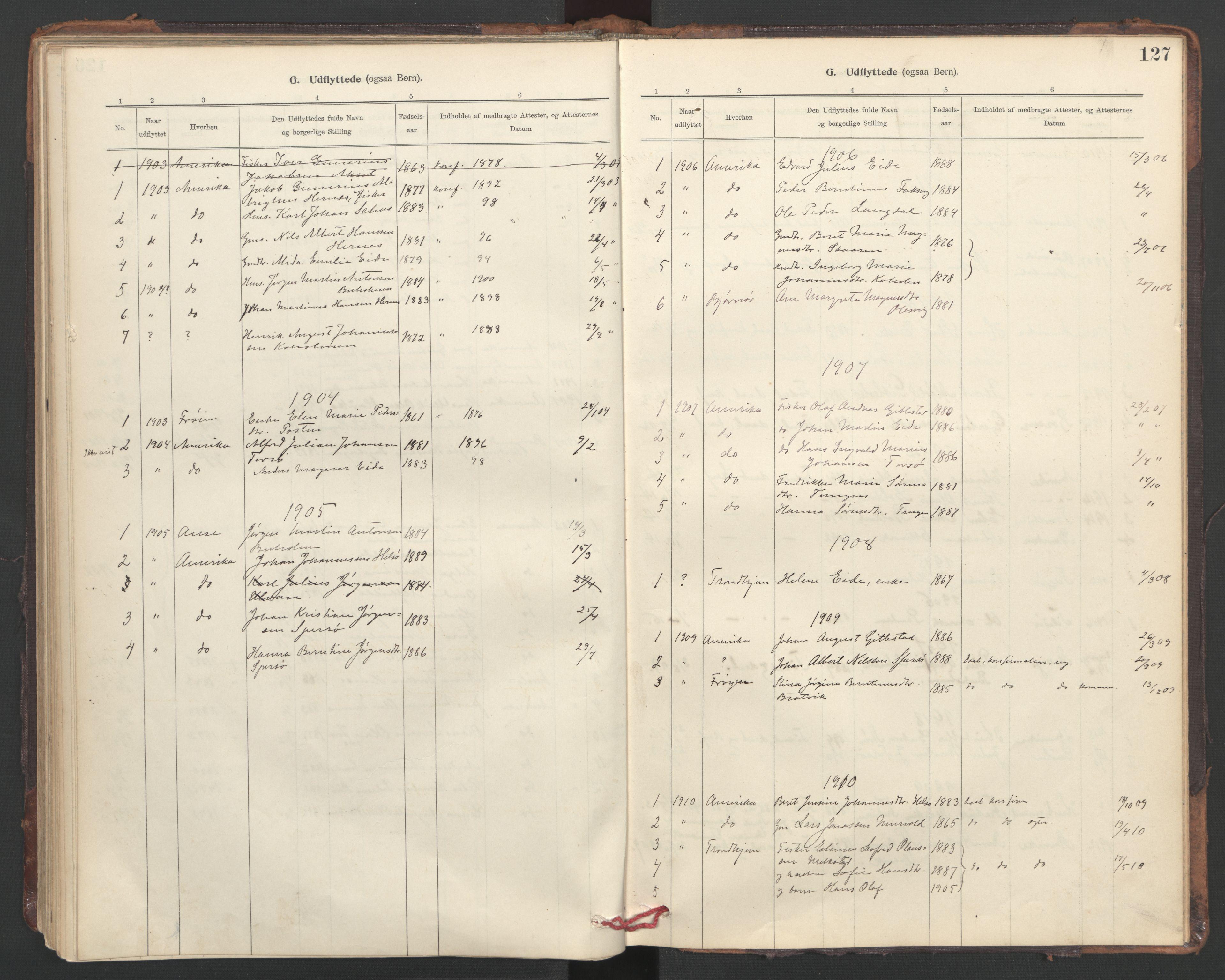SAT, Ministerialprotokoller, klokkerbøker og fødselsregistre - Sør-Trøndelag, 635/L0552: Ministerialbok nr. 635A02, 1899-1919, s. 127