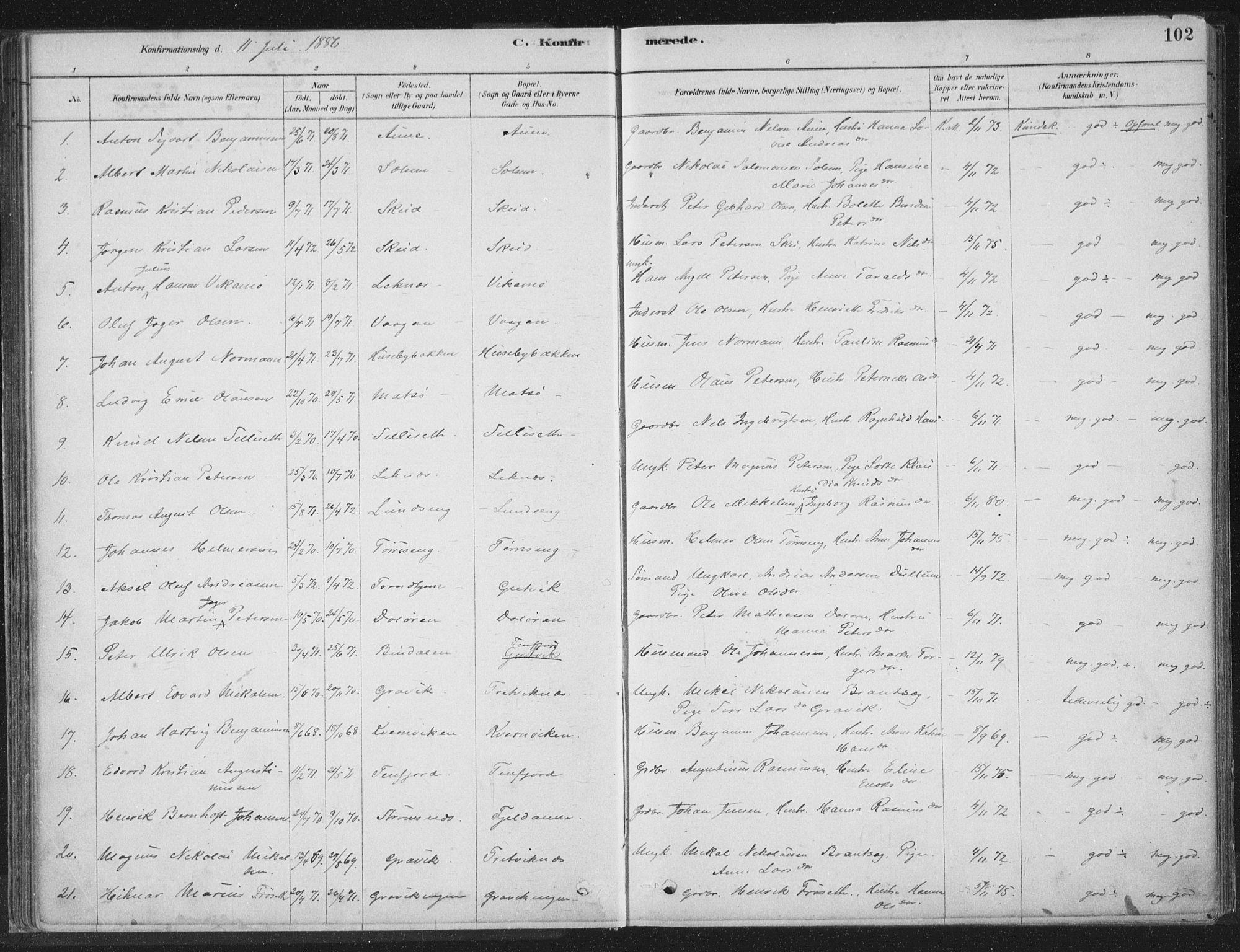 SAT, Ministerialprotokoller, klokkerbøker og fødselsregistre - Nord-Trøndelag, 788/L0697: Ministerialbok nr. 788A04, 1878-1902, s. 102