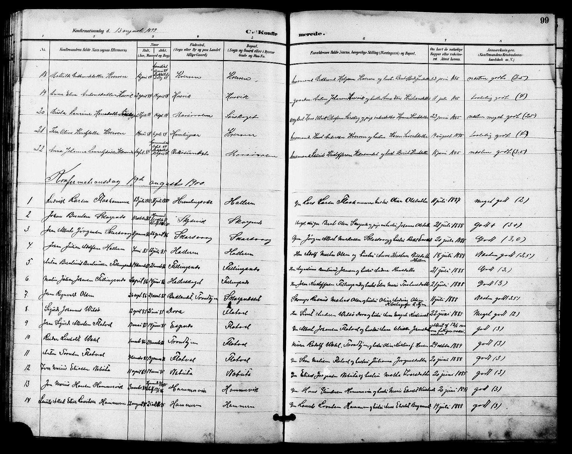 SAT, Ministerialprotokoller, klokkerbøker og fødselsregistre - Sør-Trøndelag, 641/L0598: Klokkerbok nr. 641C02, 1893-1910, s. 99
