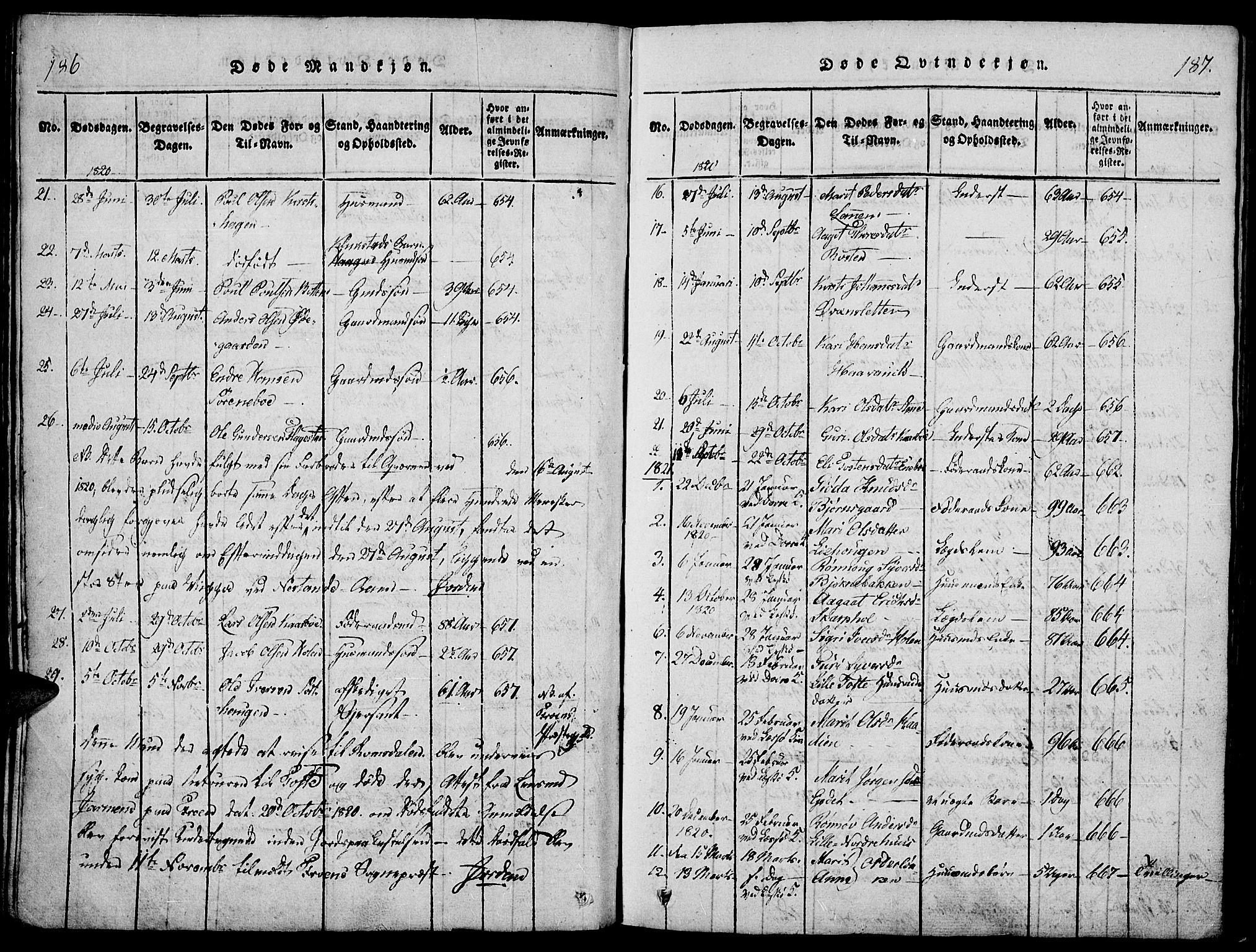 SAH, Lesja prestekontor, Ministerialbok nr. 4, 1820-1829, s. 186-187